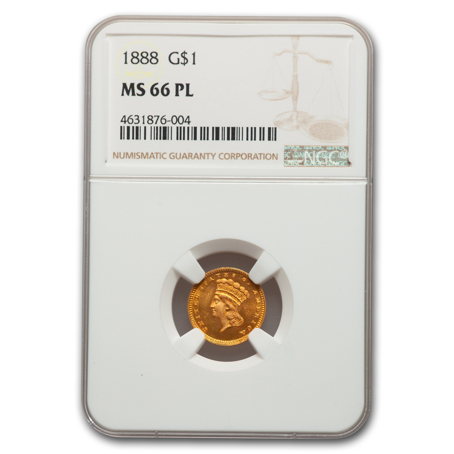 1888 $1 Indian Head Gold MS-66 NGC (PL)