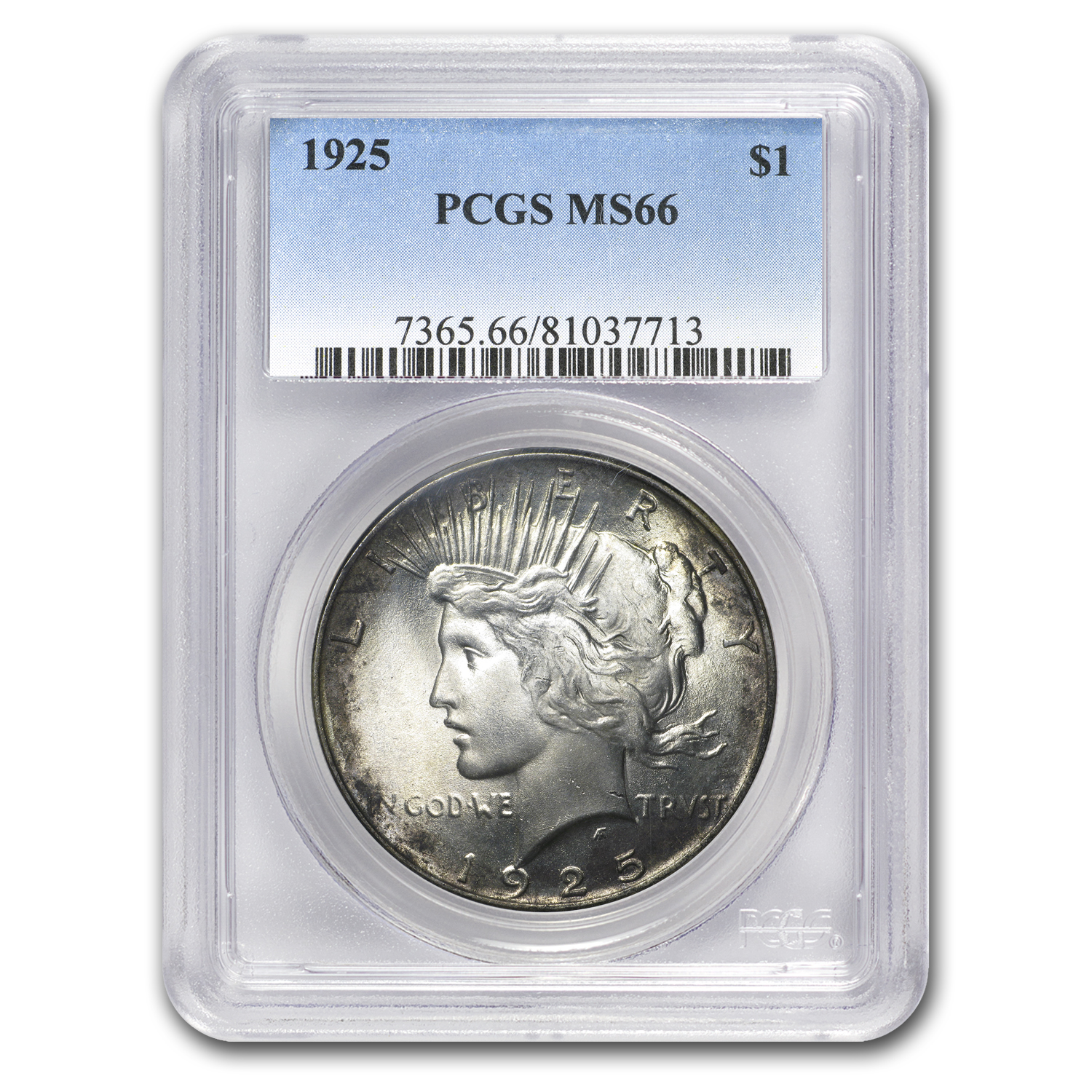 1922-1925 Peace Dollars MS-66 PCGS (Toned Obv/Rev)