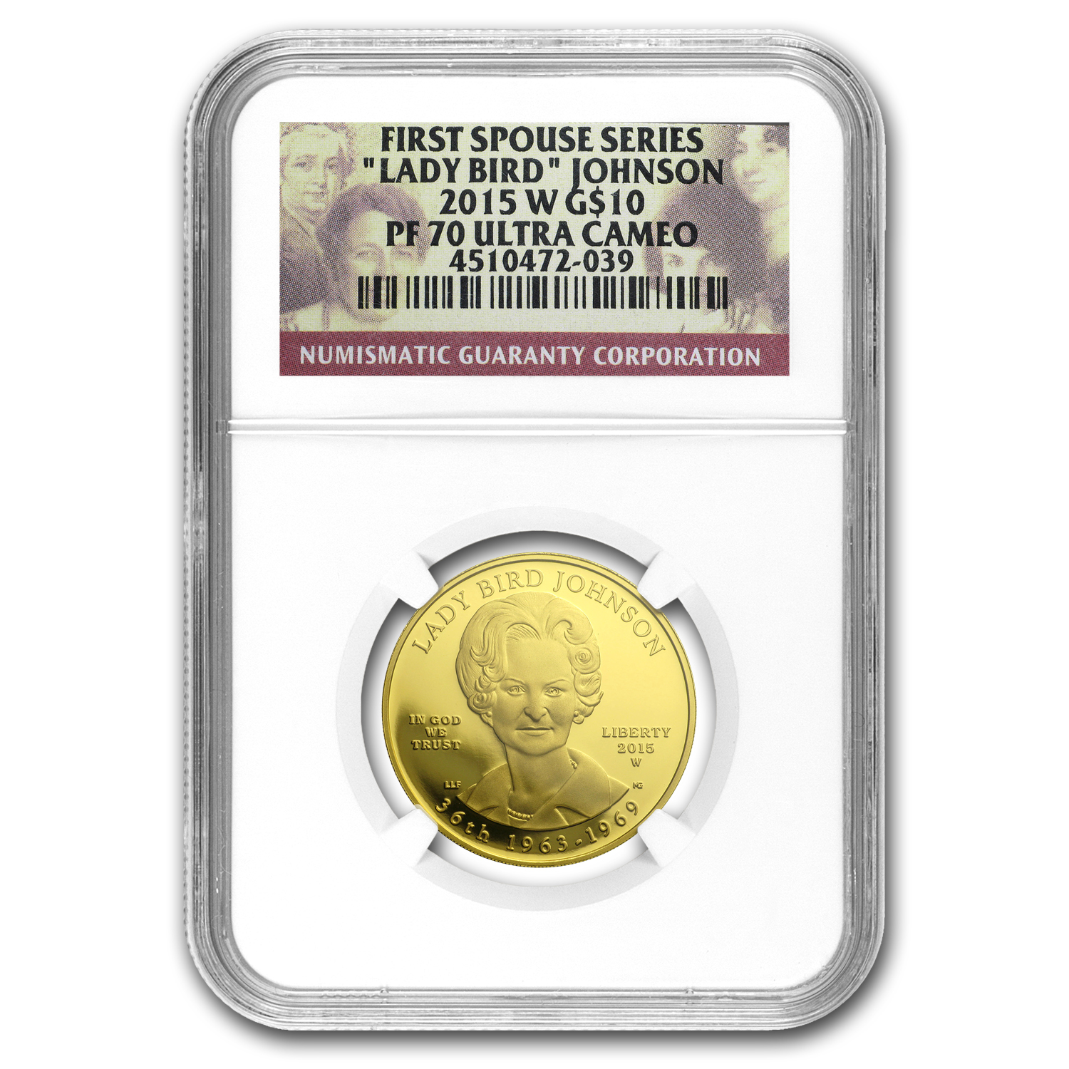 2015-W 1/2 oz Proof Gold Lady Bird Johnson PF-70 NGC