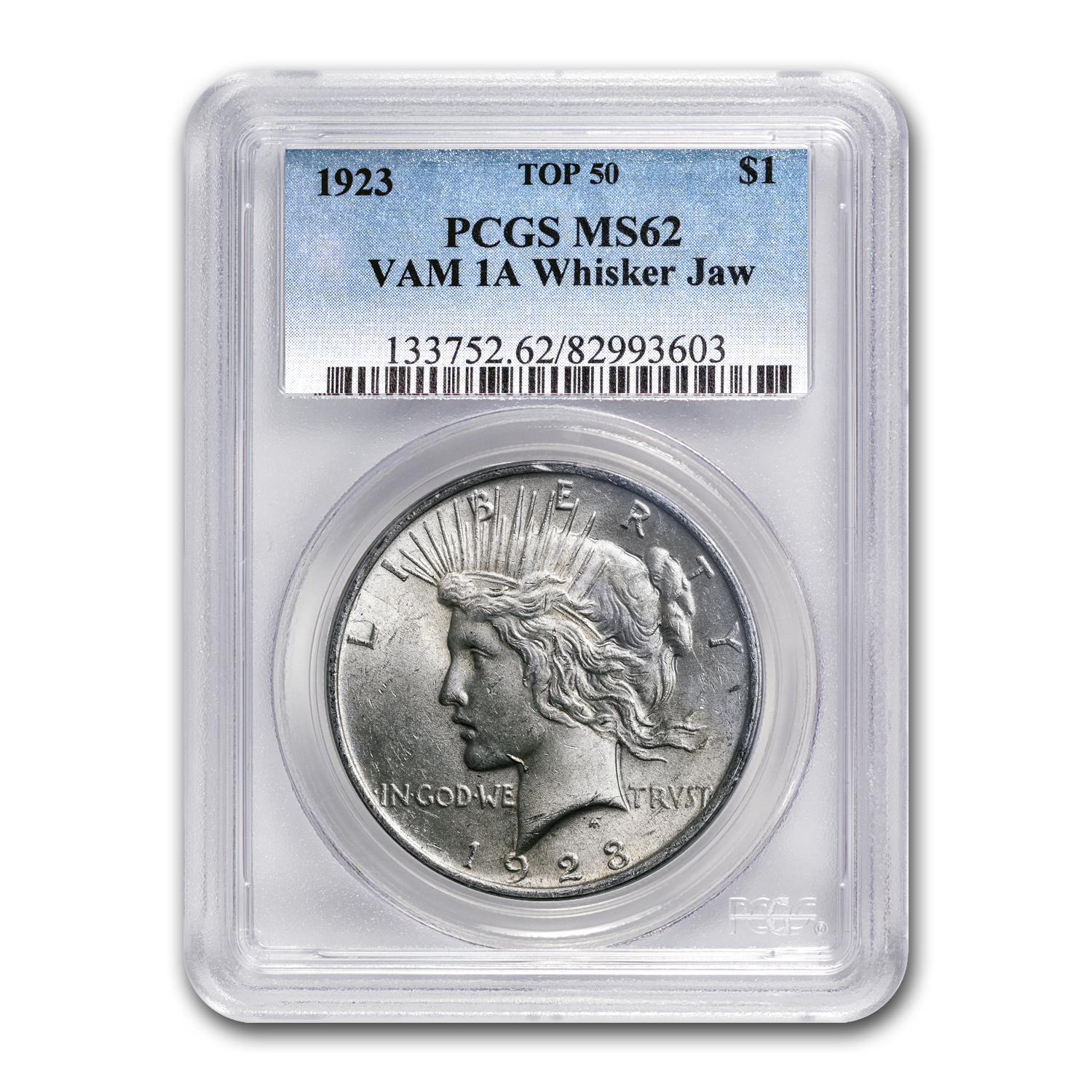 1923 Peace Dollar MS-62 PCGS (VAM-1A, Whisker Jaw, Top-50)