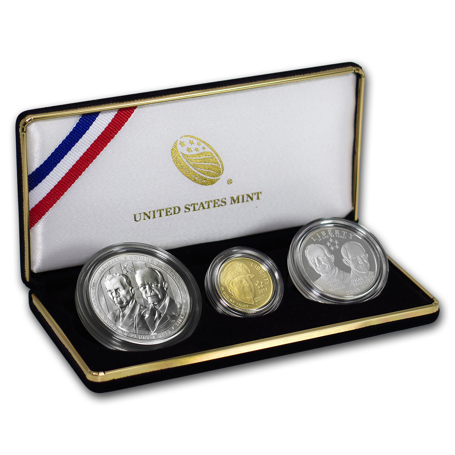 2013 3-Coin 5-Star Generals Commemorative Proof Set (Box & COA)