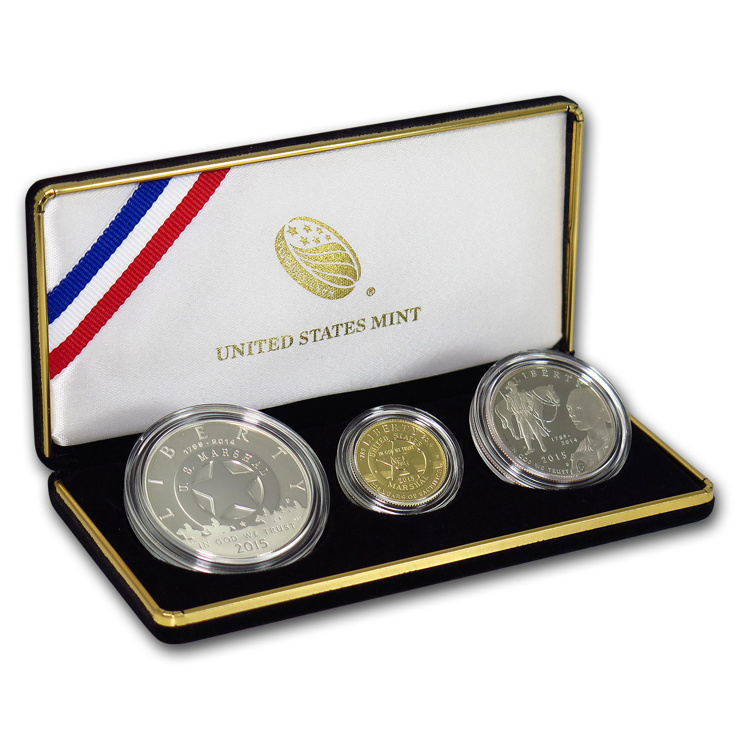 2015 3-Coin US Marshals Commemorative Proof Set (Box & COA)