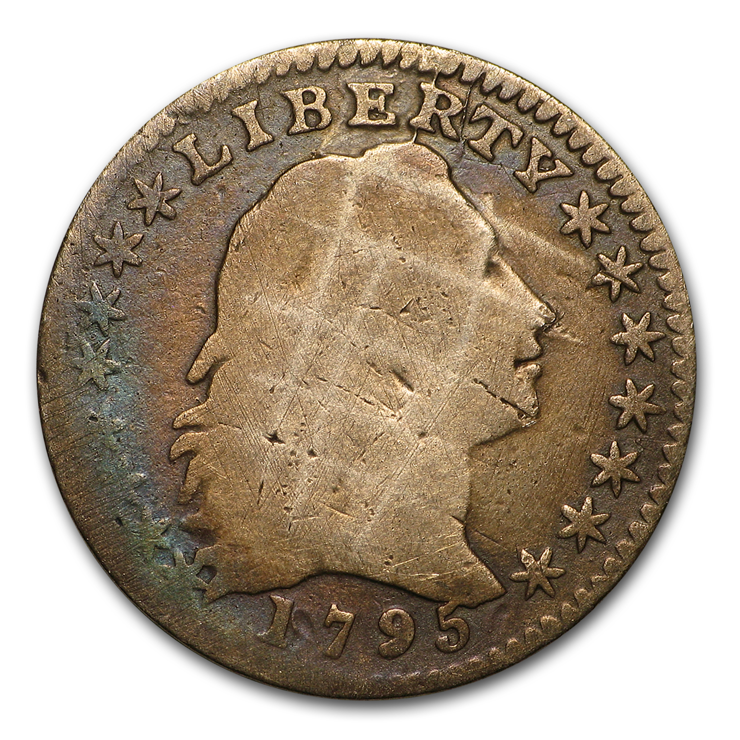 1795 Flowing Hair Half Dime Good Details (Damaged)