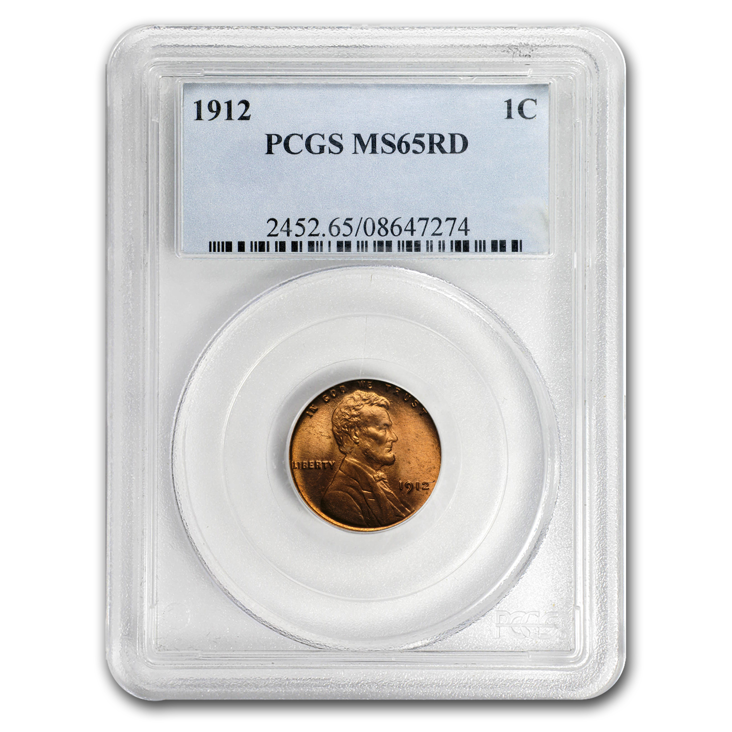 1912 Lincoln Cent MS-65 PCGS (Red)