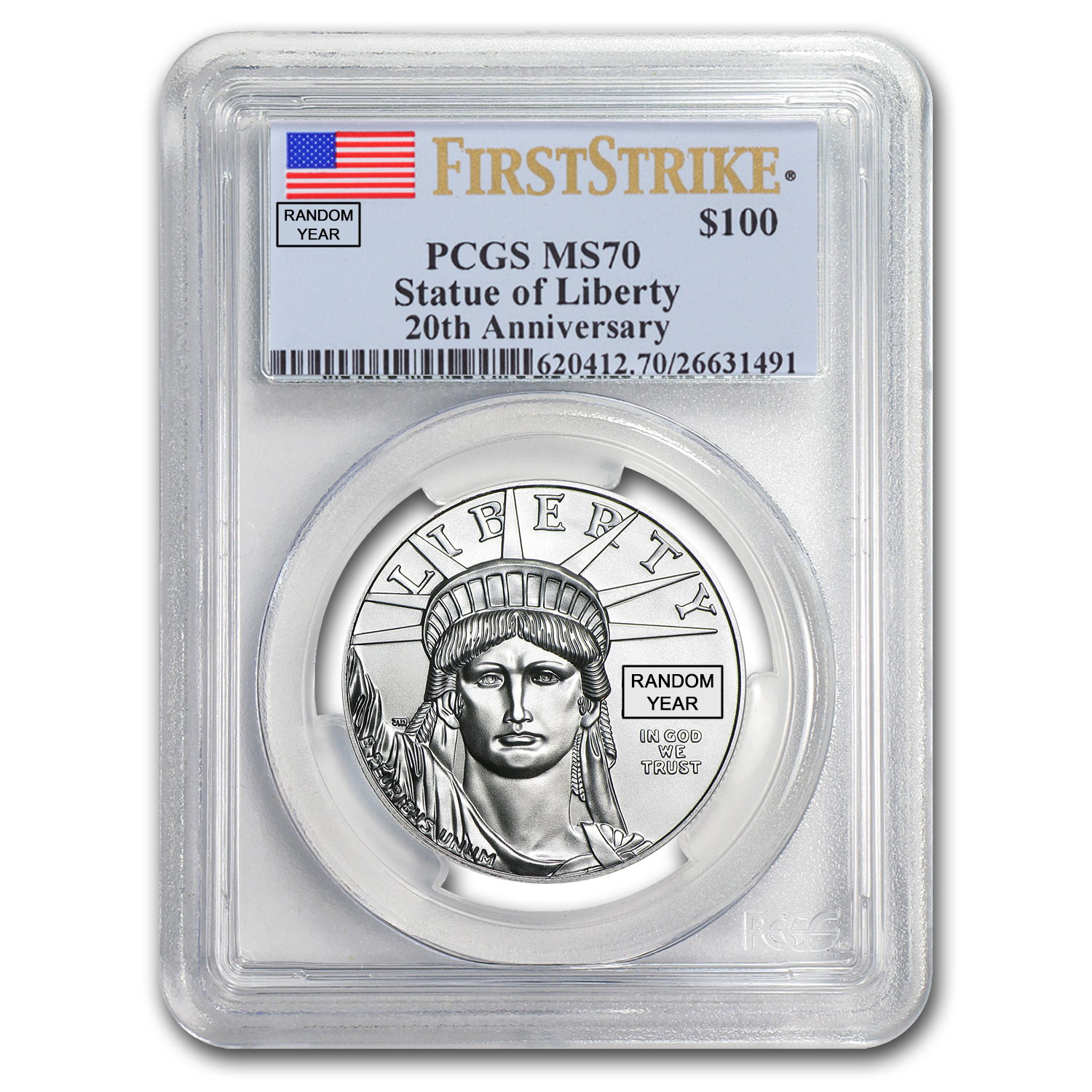 1 oz Platinum American Eagle MS-70 PCGS (Random Year)