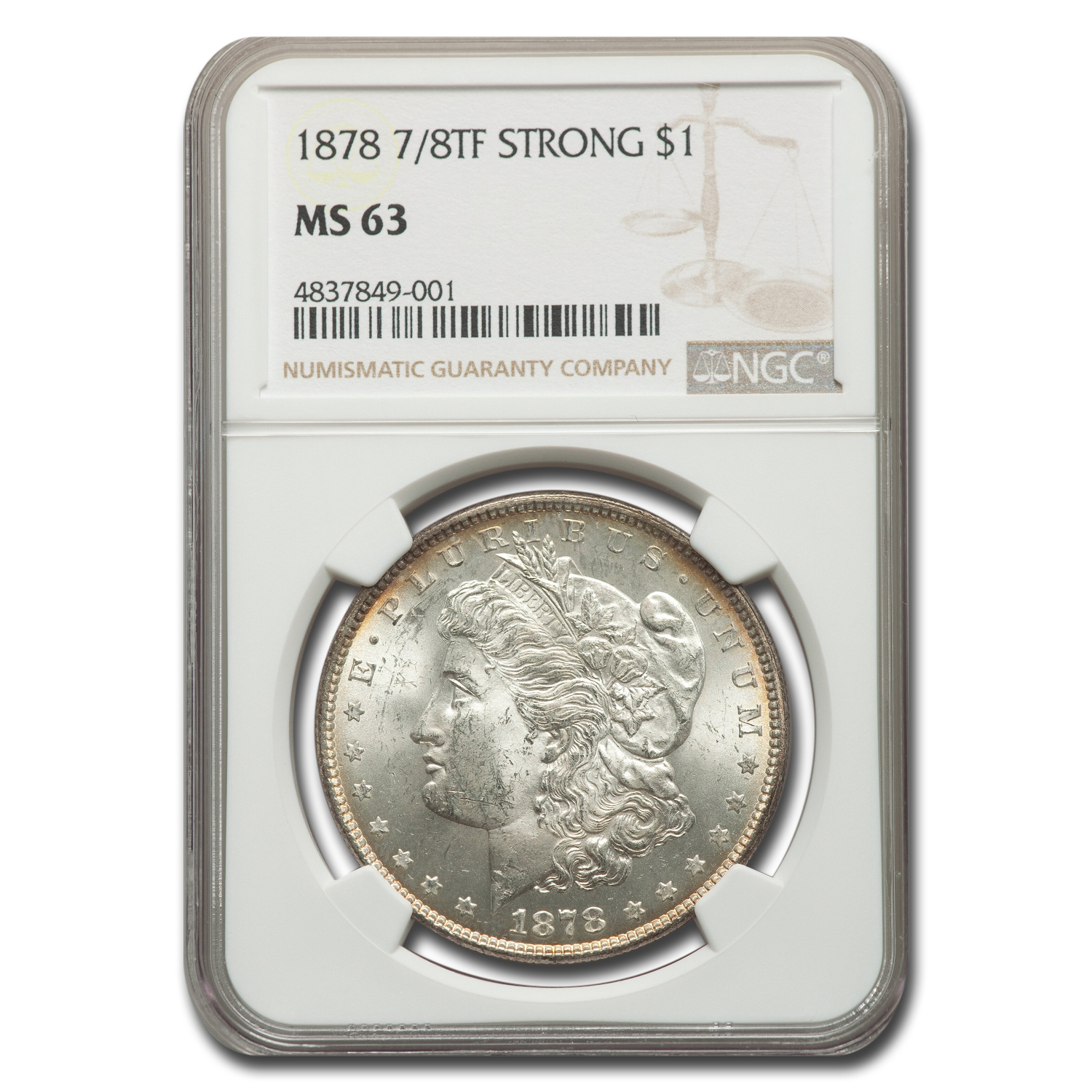 1878 Morgan Dollar - 7/8 Tailfeathers Strong MS-63 NGC