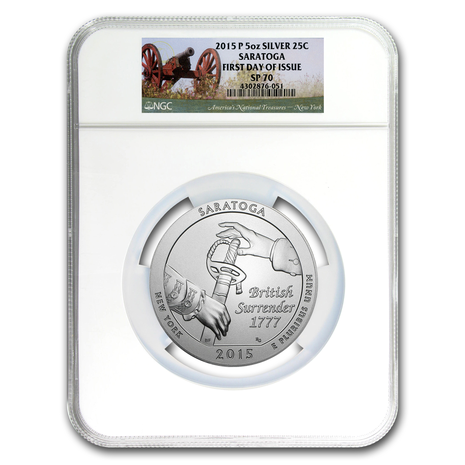 2015-P 5 oz Silver ATB Saratoga SP-70 NGC (First Day Of Issue)
