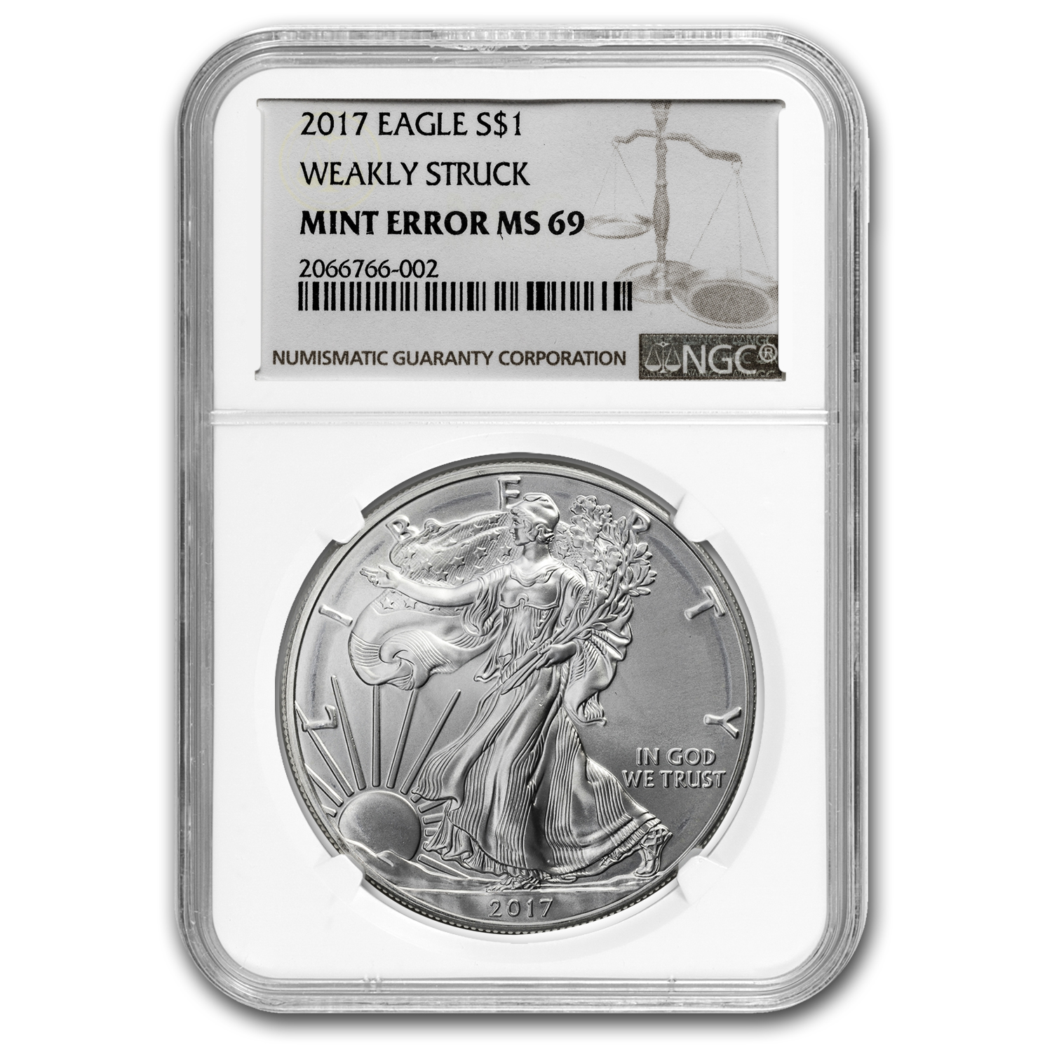 2017 Silver American Eagle MS-69 NGC (Error, Weakly Struck)