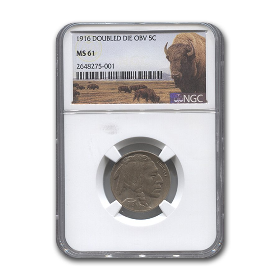 1916 Buffalo Nickel Double Die Obverse MS-61 NGC