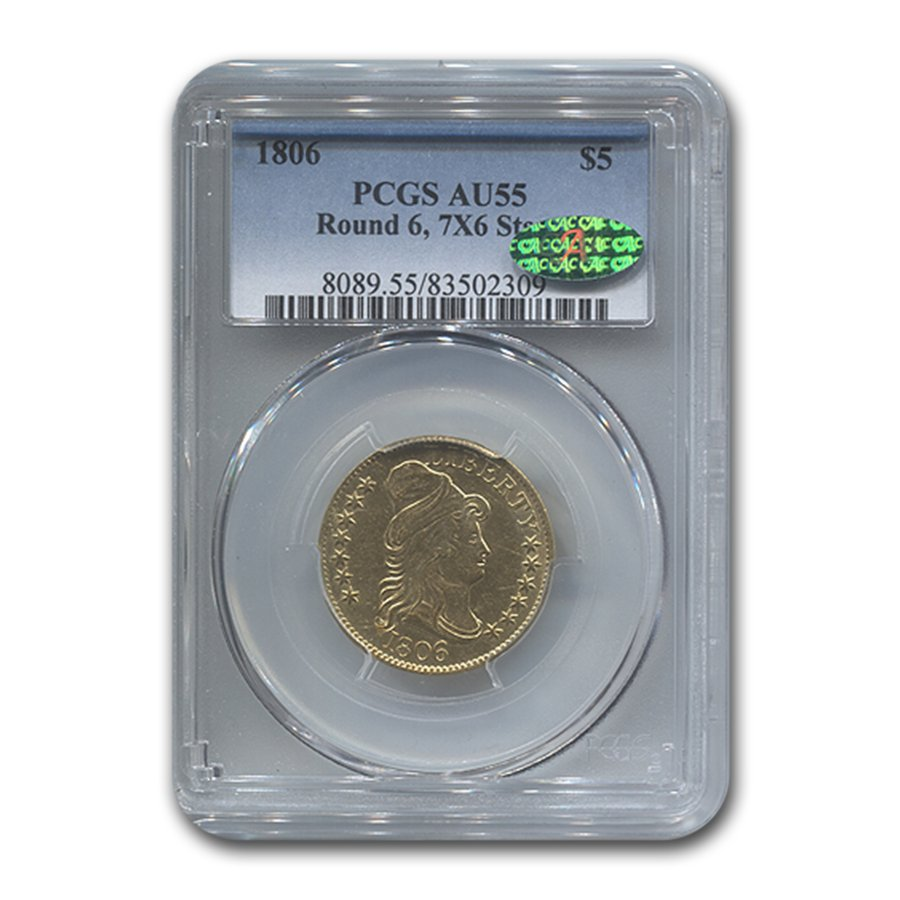 1806 $5 Turban Head Gold Half Eagle AU-55 PCGS CAC (Rnd 6, 7x6)