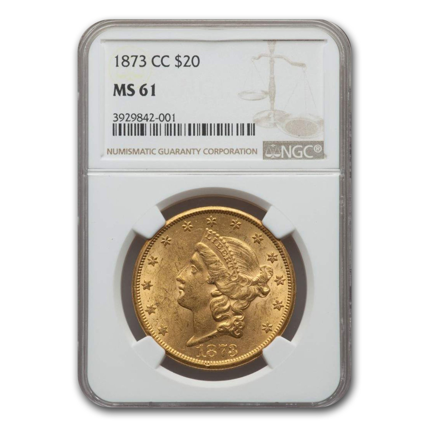 1873-CC $20 Liberty Gold Double Eagle MS-61 NGC