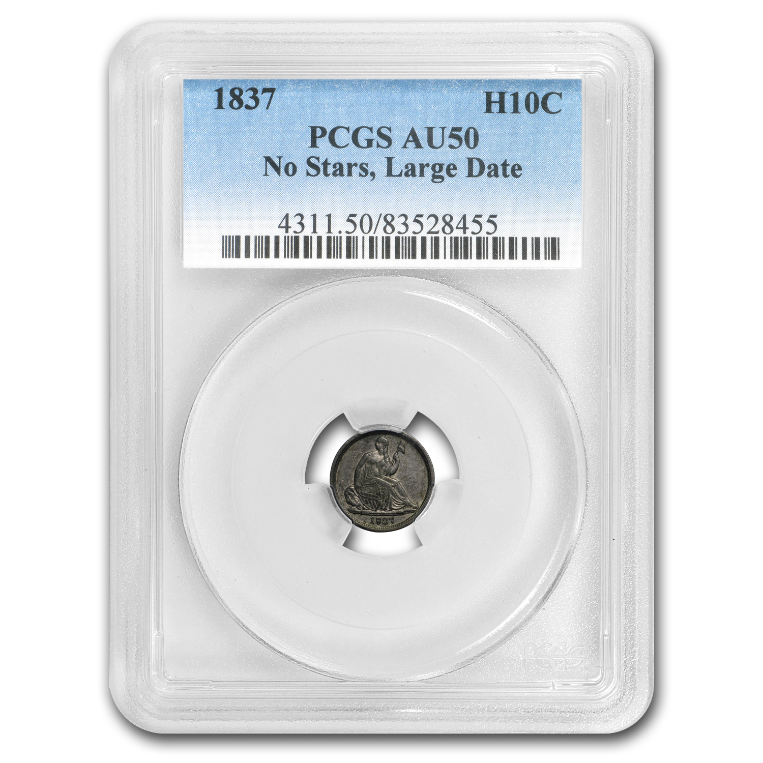 1837 Liberty Seated Half Dime No Stars, Large Date AU-50 PCGS