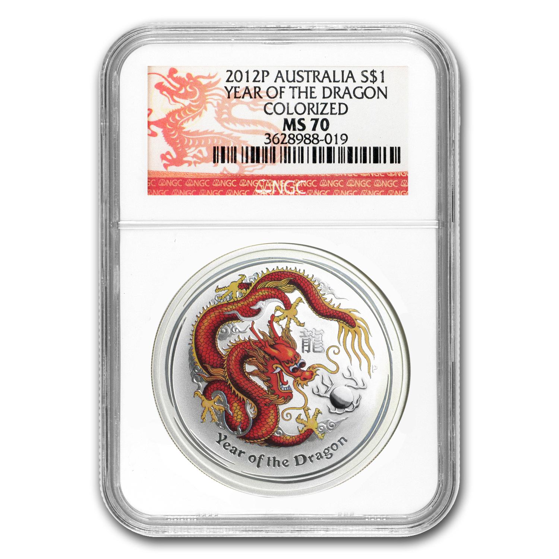2012 Australia 1 Oz Silver Year Of The Dragon Bu Ms 70