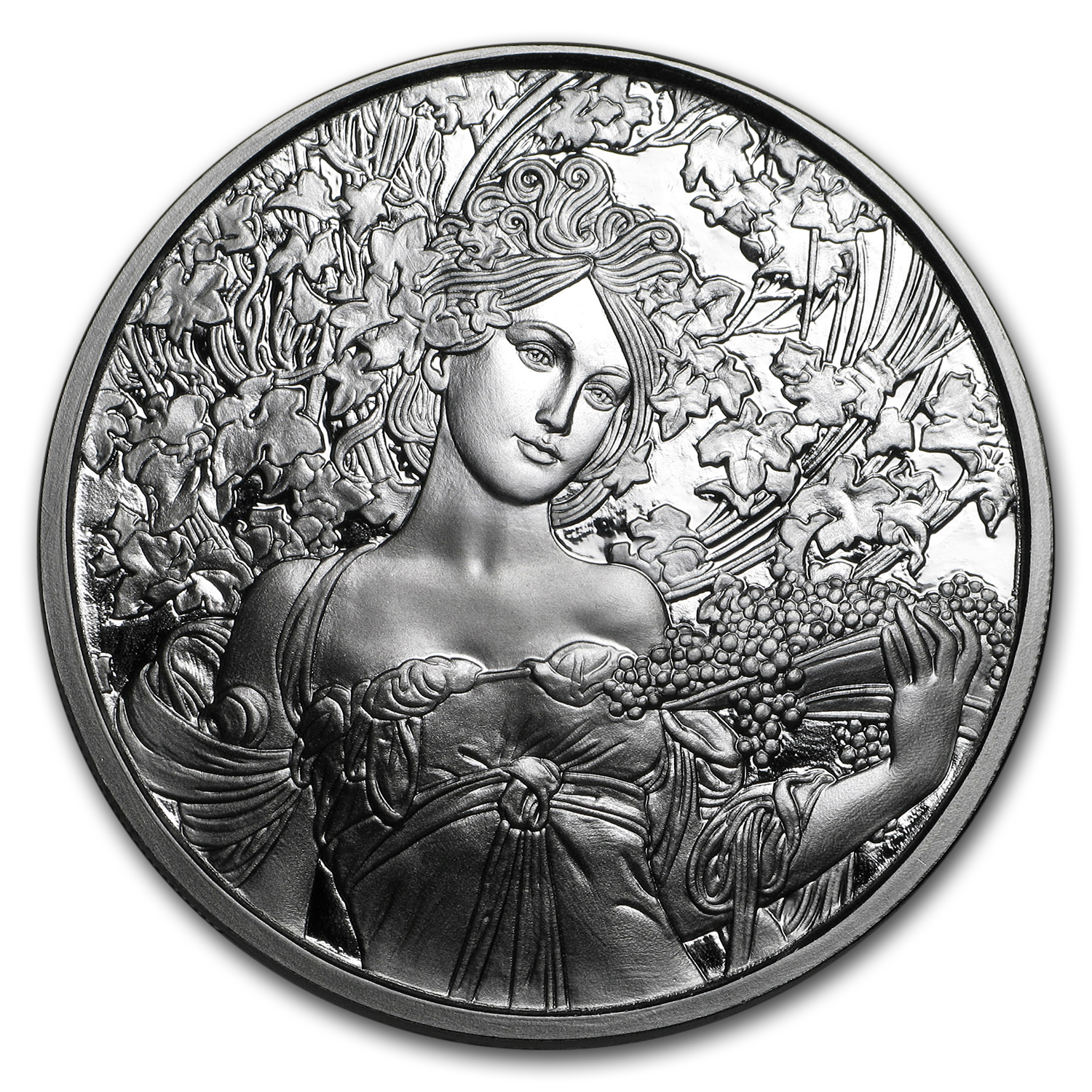 1 oz Silver Proof Round Mucha Collection (Champagne White Star)