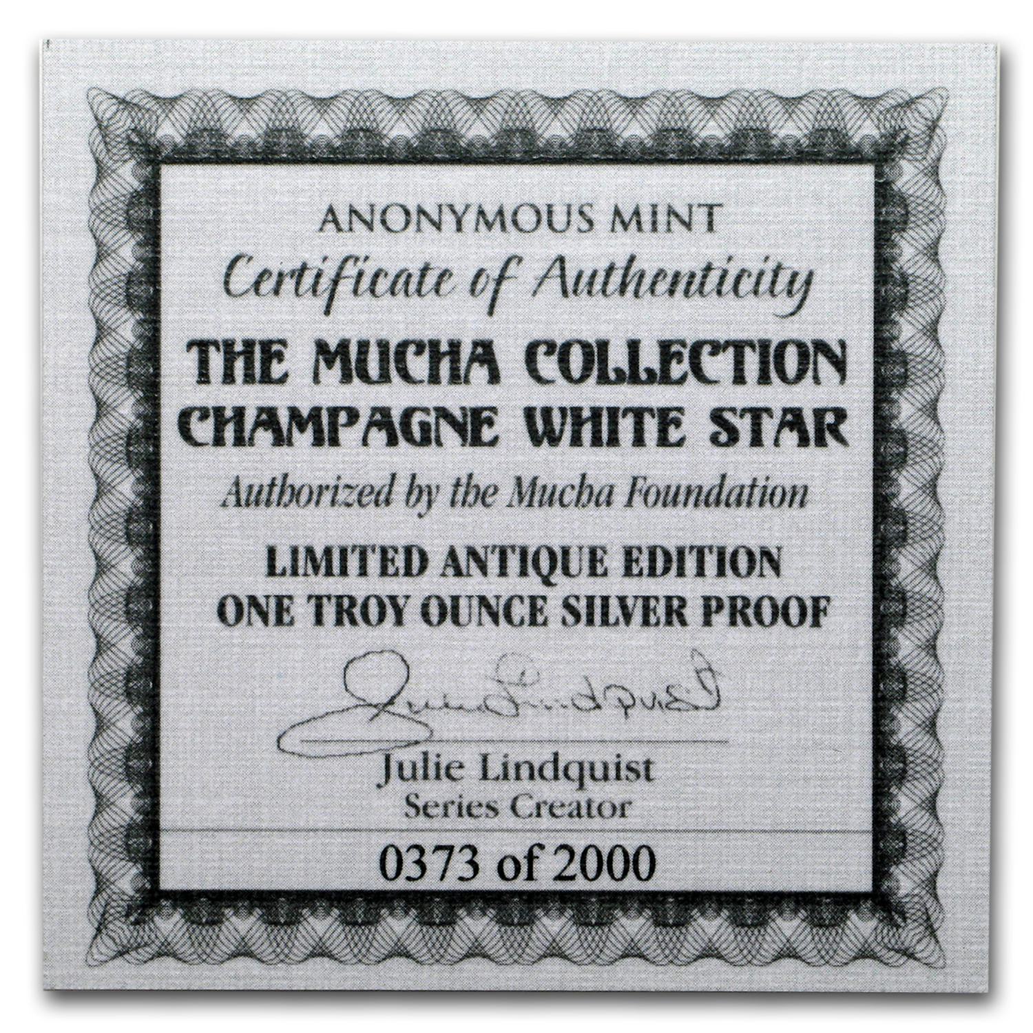 1 oz Silver Antique Round Mucha Collection (Champagne White Star)