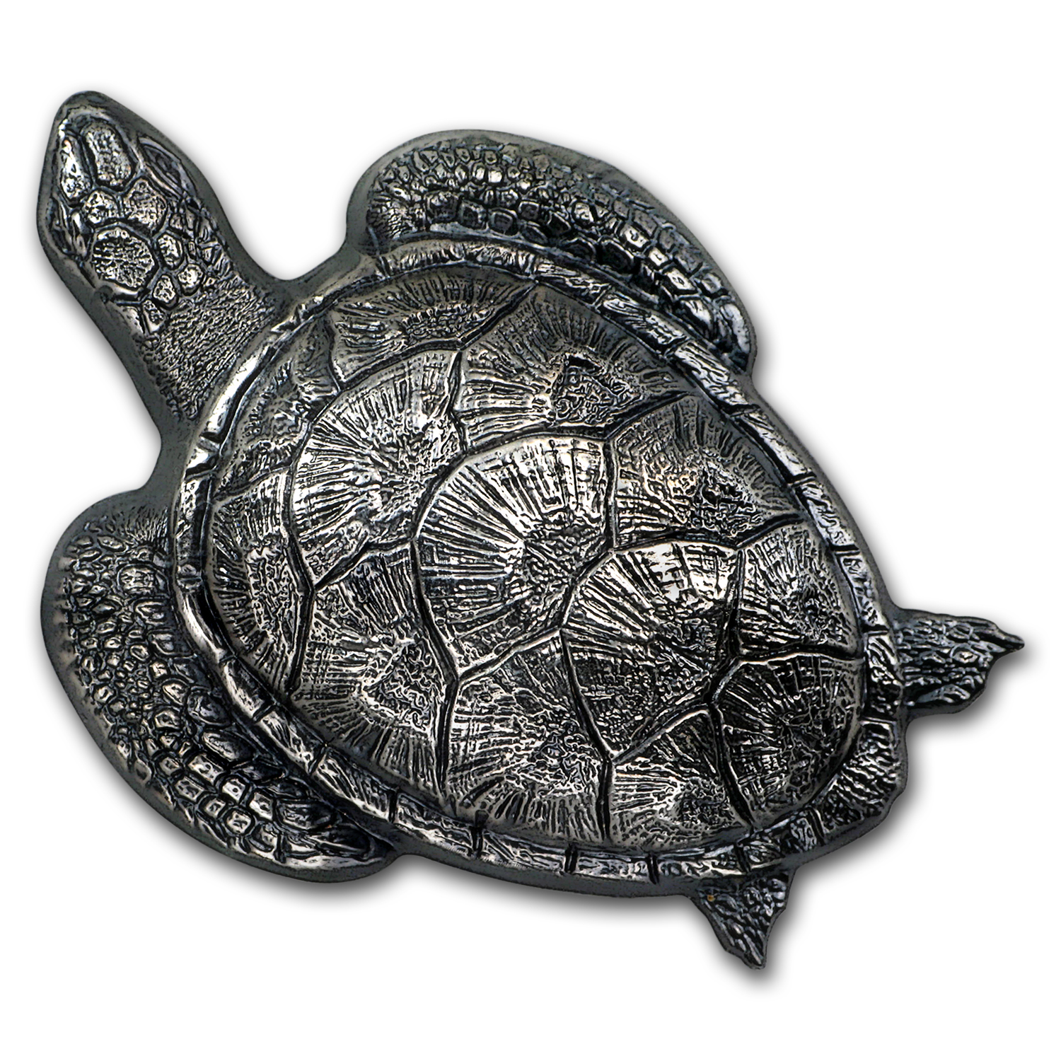 2017 Palau 45 gram Silver Antique Finish Sea Turtle