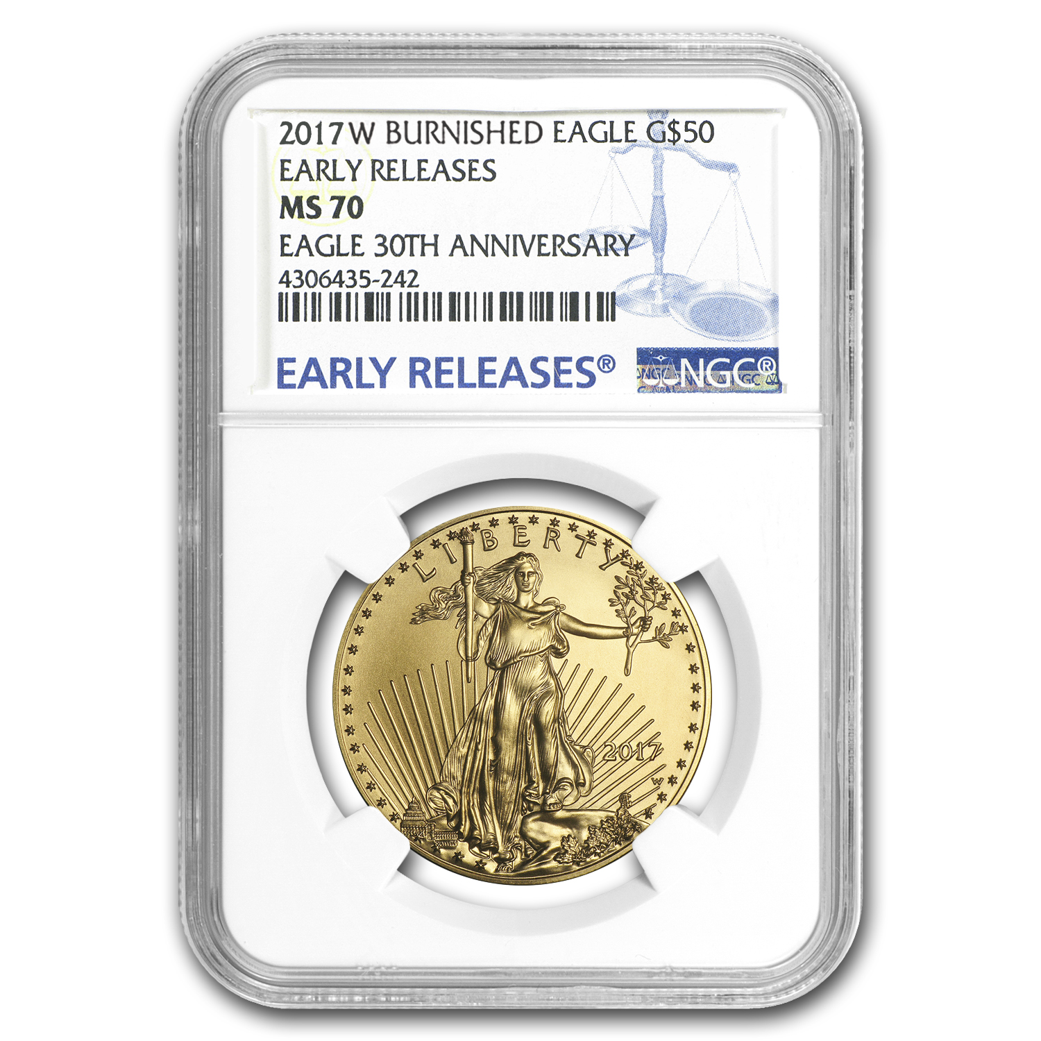 2017-W 1 oz Burnished Gold Eagle MS-70 NGC (ER)
