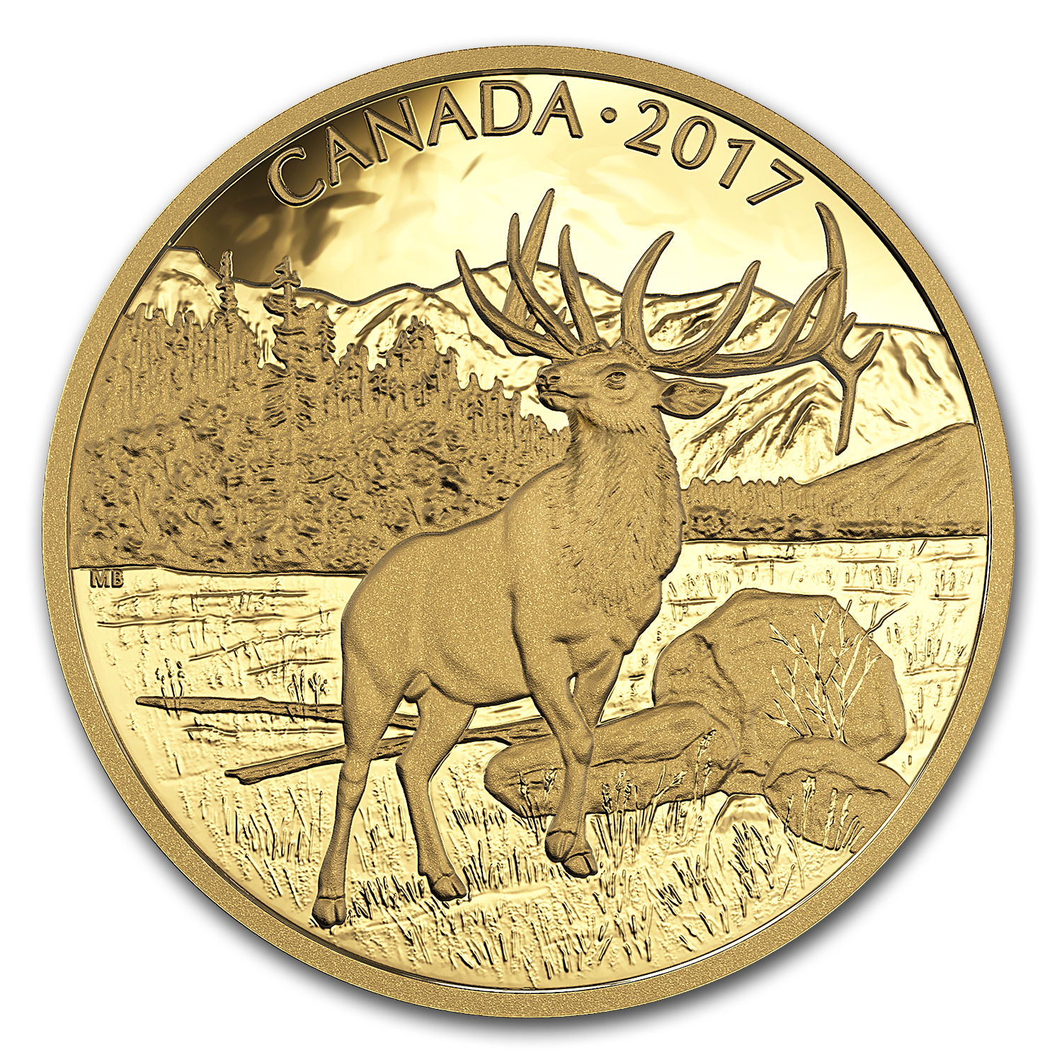 2017 Canada 1 oz Proof Gold $350 Majestic Elk