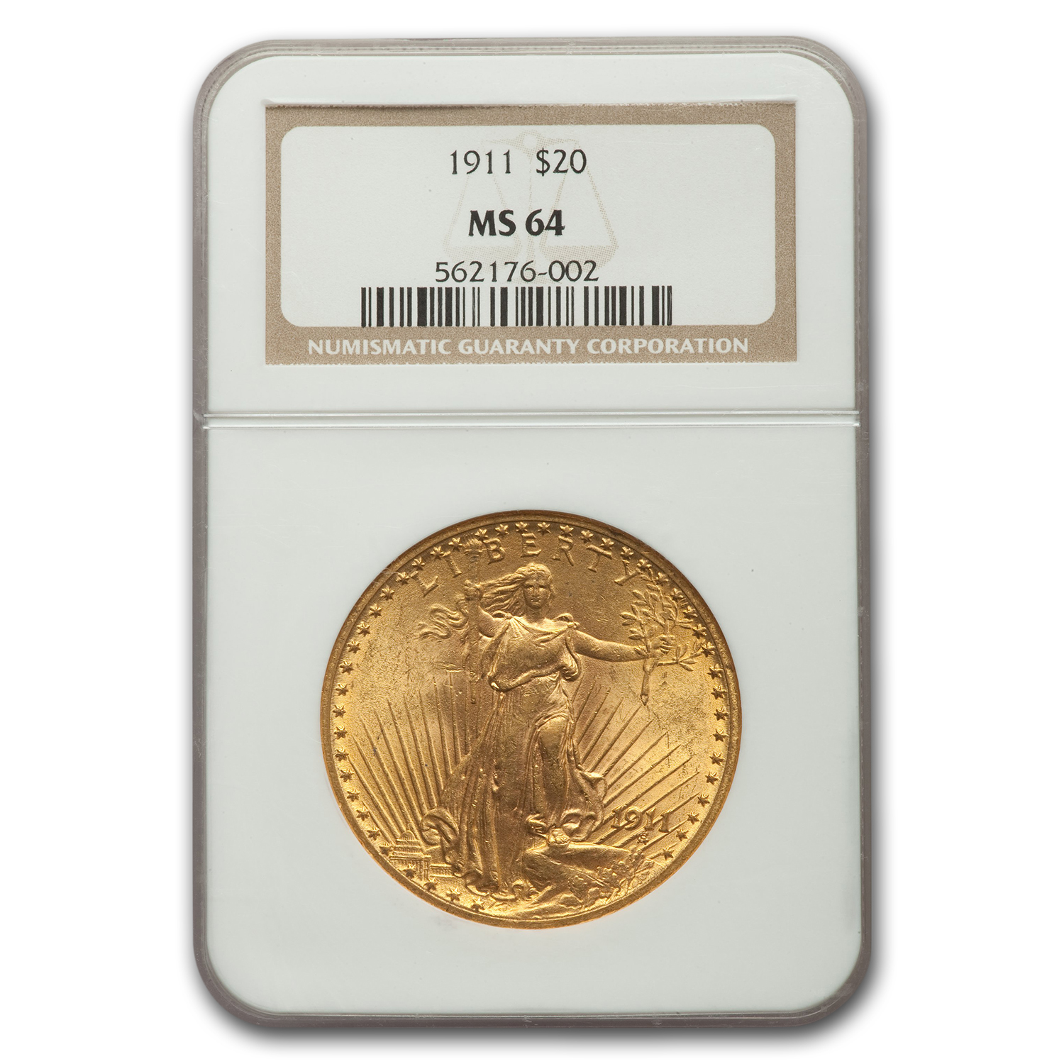1911 $20 St. Gaudens Gold Double Eagle MS-64 NGC