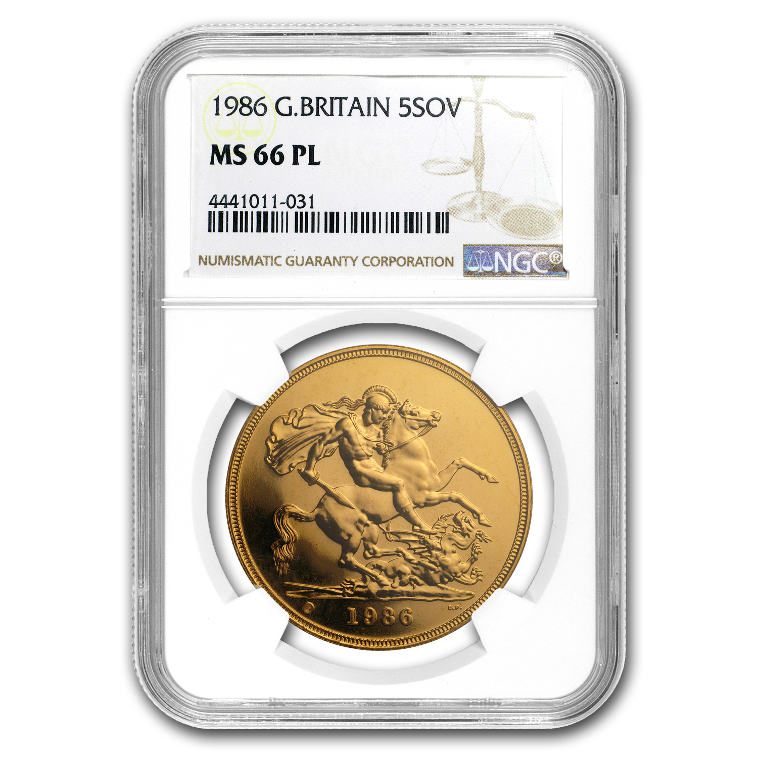 1986 Great Britain Gold £5 MS-66 PL NGC