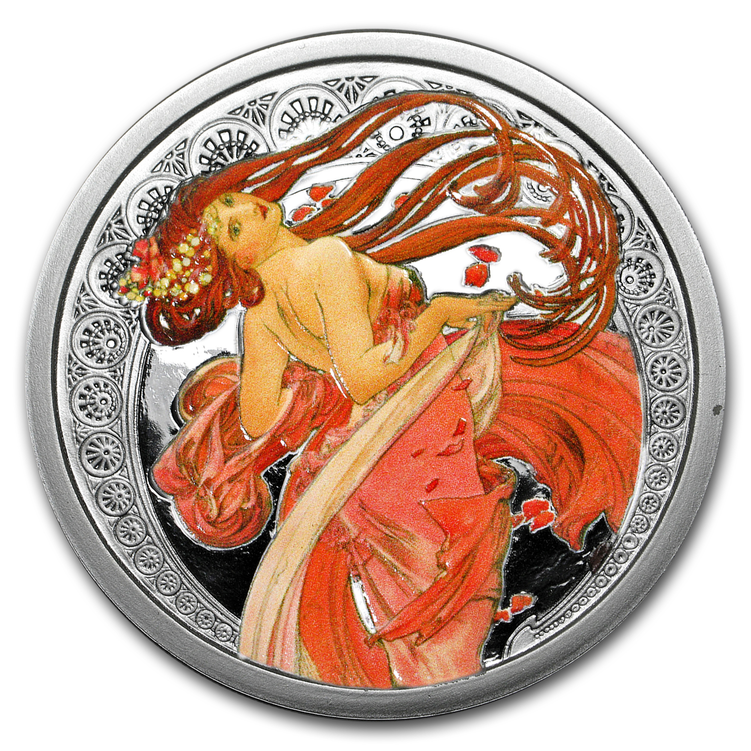 5 oz Silver Colorized Proof Round Mucha Collection (Dance)