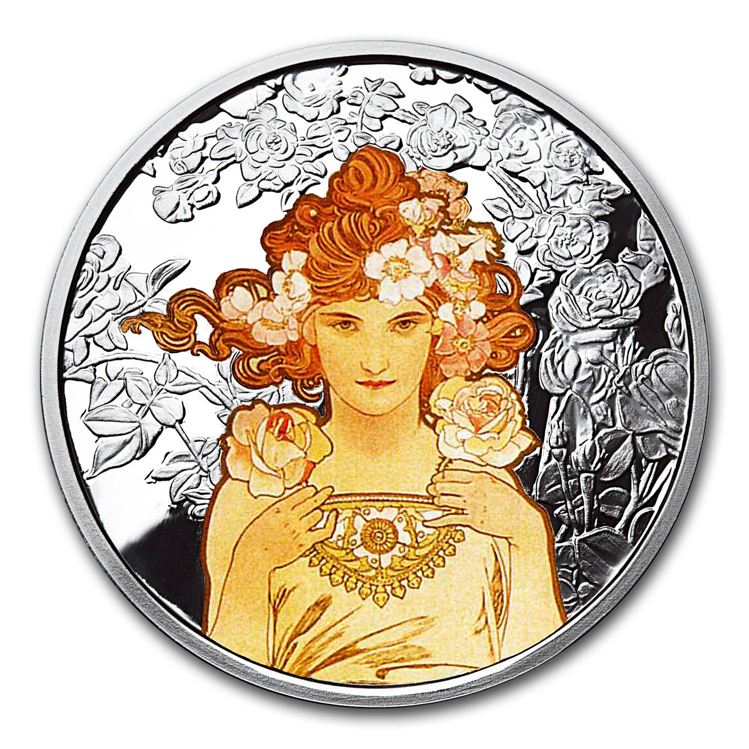 1 oz Silver Colorized Round Mucha Collection (Rose)