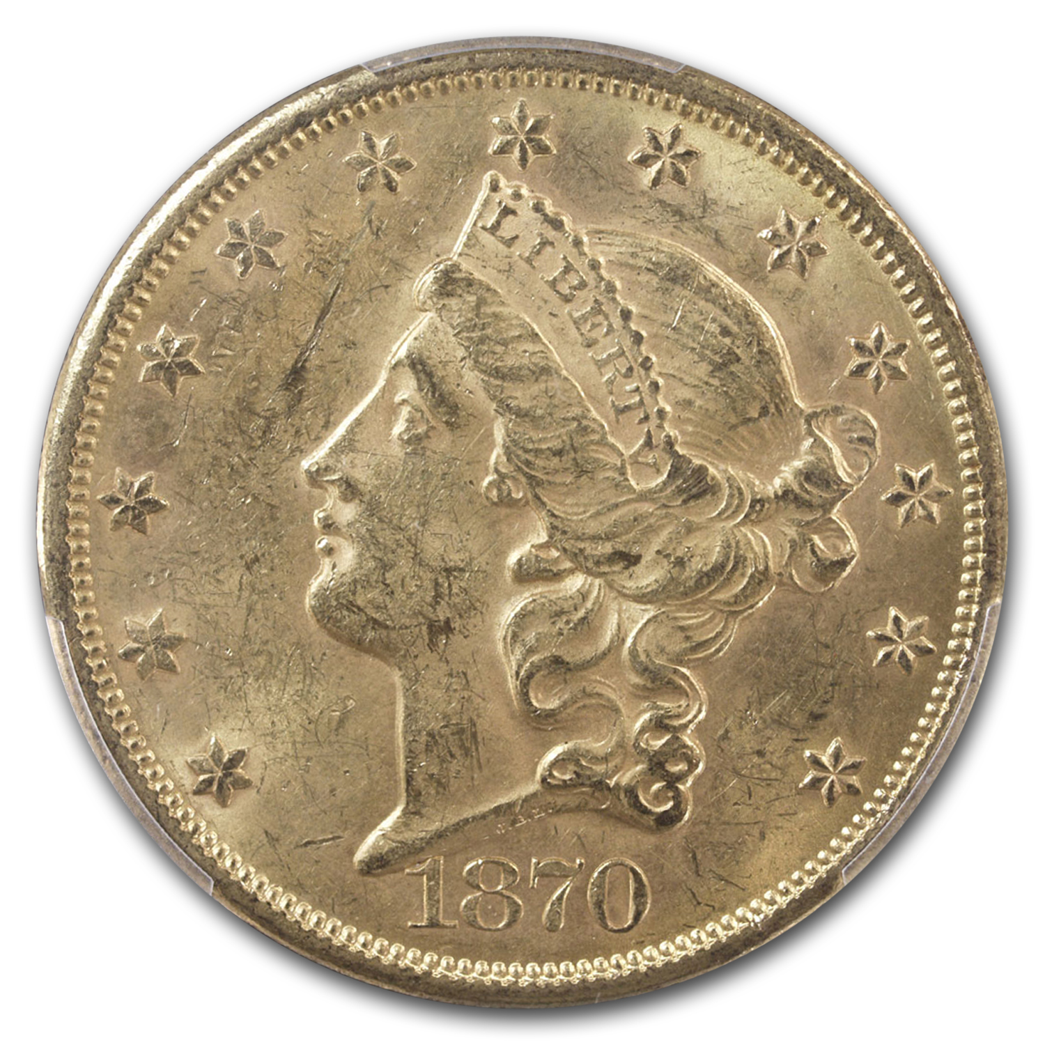 1870-S $20 Liberty Gold Double Eagle MS-61 PCGS