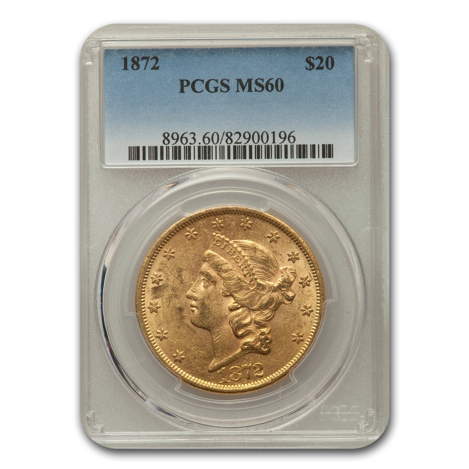 1872 $20 Liberty Gold Double Eagle MS-60 PCGS