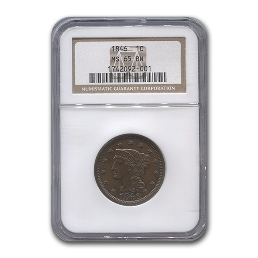 1846 Large Cent MS-65 NGC (Brown)