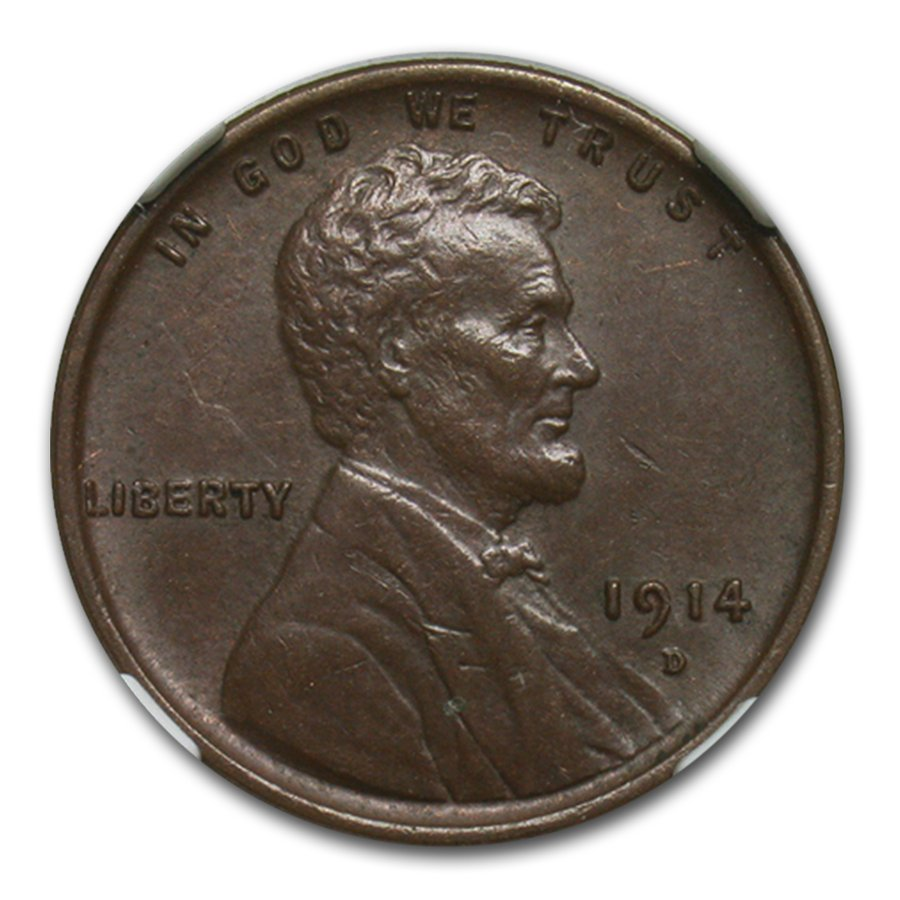 1914-D Lincoln Cent AU-55 NGC CAC (Brown)