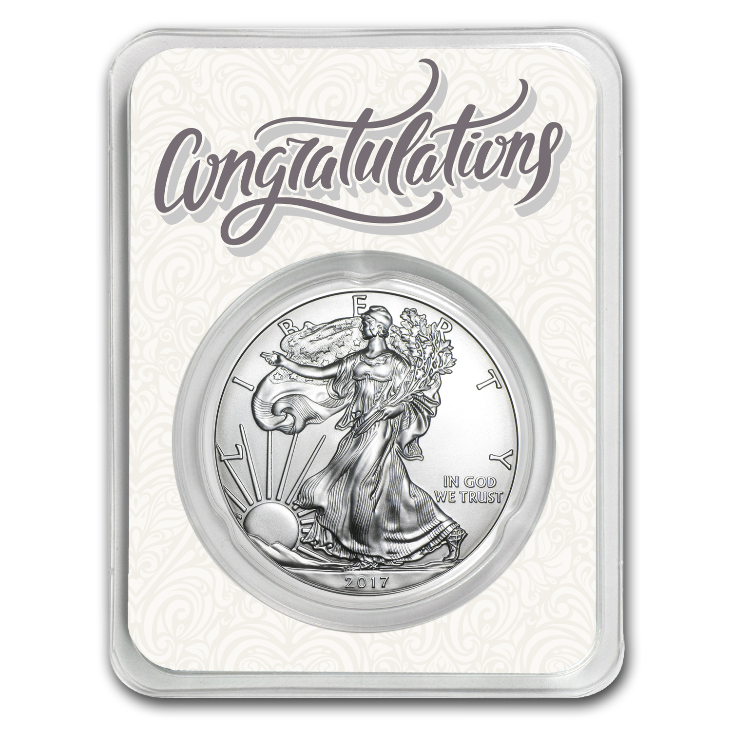2017 1 oz Silver American Eagle - Just Married Congratulations