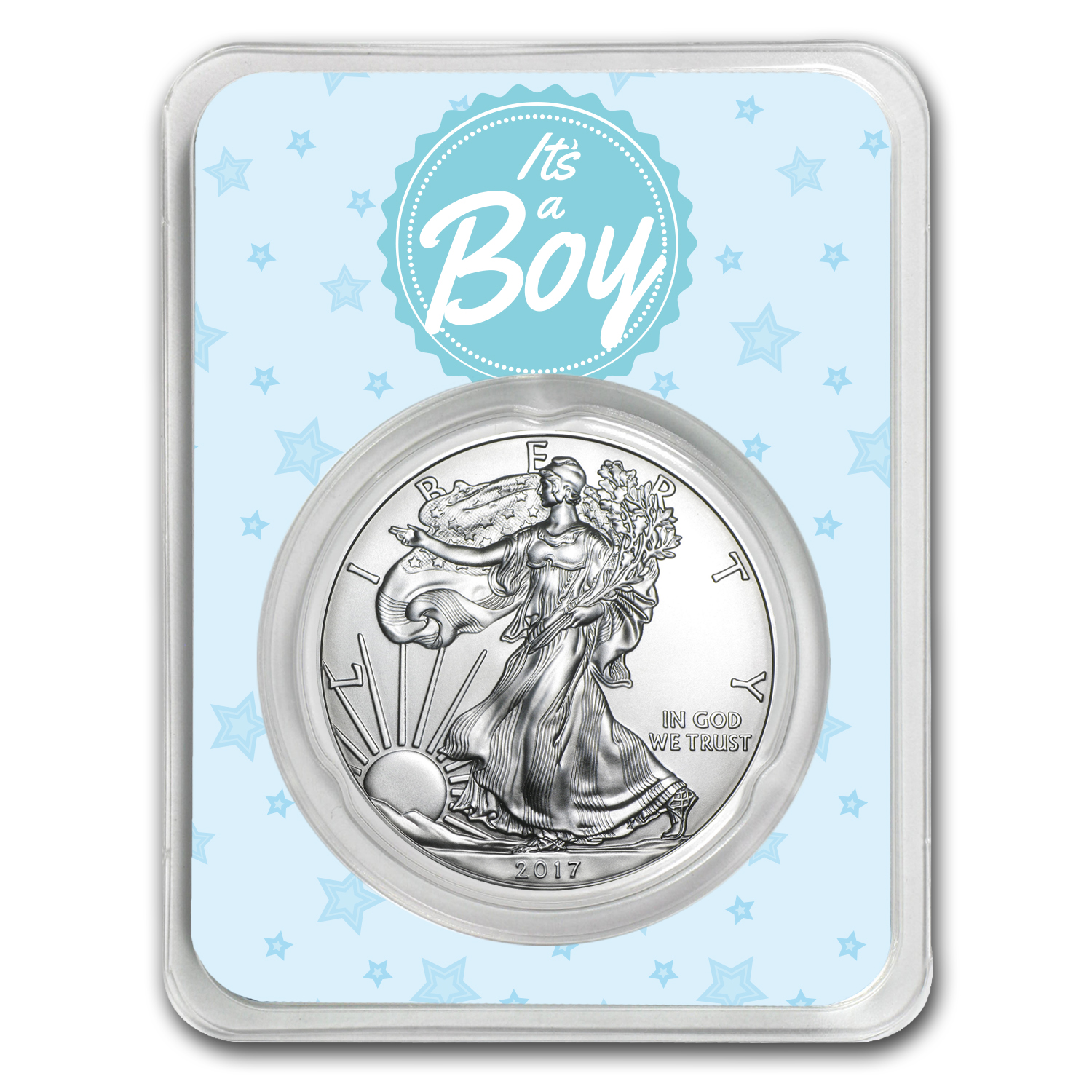 2017 1 oz Silver American Eagle - It's A Boy Stars