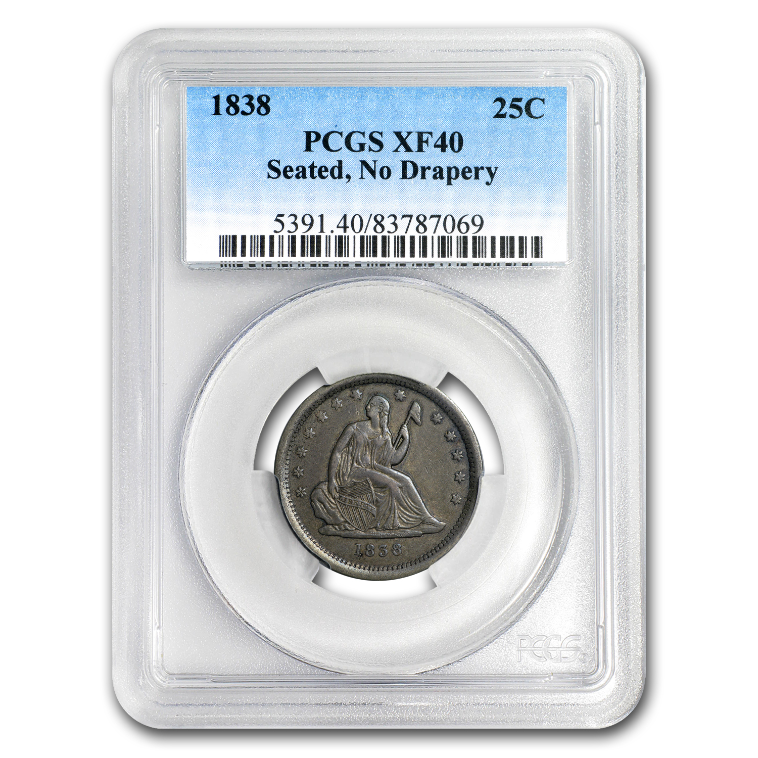 1838 Liberty Seated Quarter XF-40 PCGS