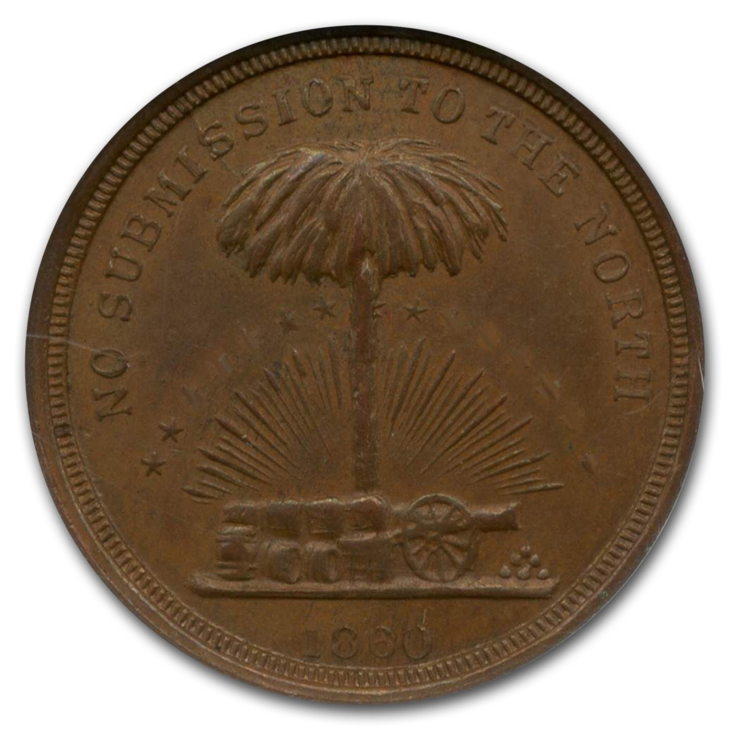 1860 No Submission To The North Token MS-66 NGC (Brown)