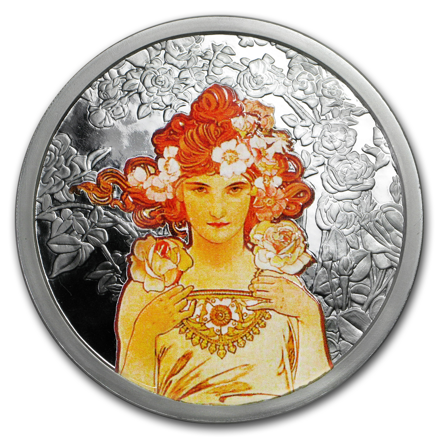 5 oz Silver Colorized Proof Round Mucha Collection (Rose)