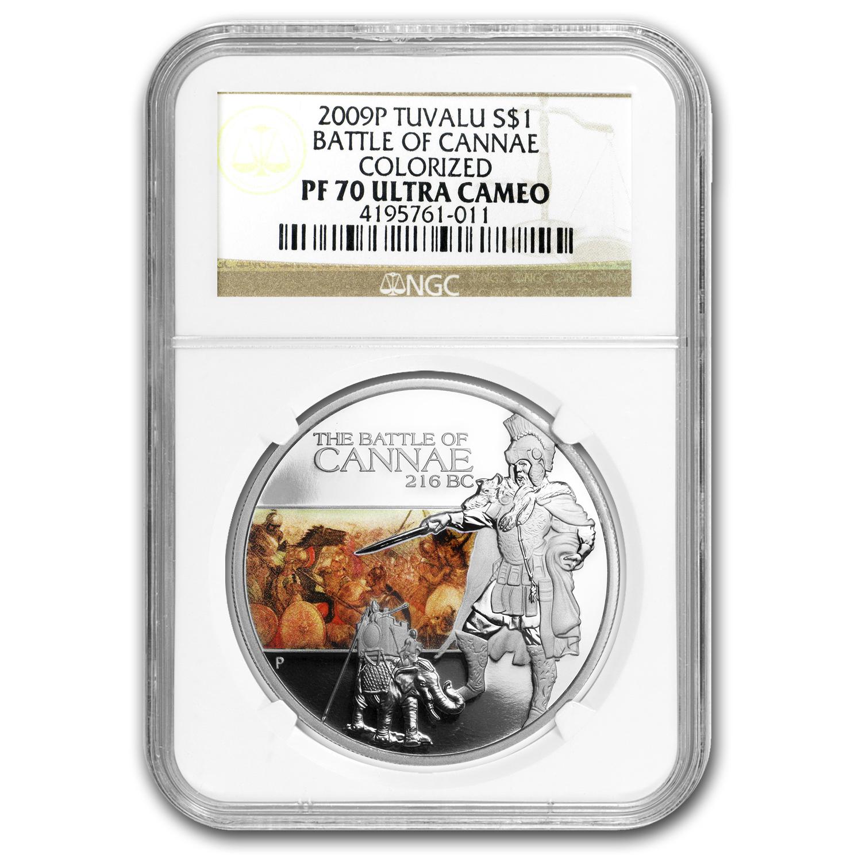 2009 Tuvalu 1 Oz Silver Battle Of Cannae Pf 70 Ngc Perth