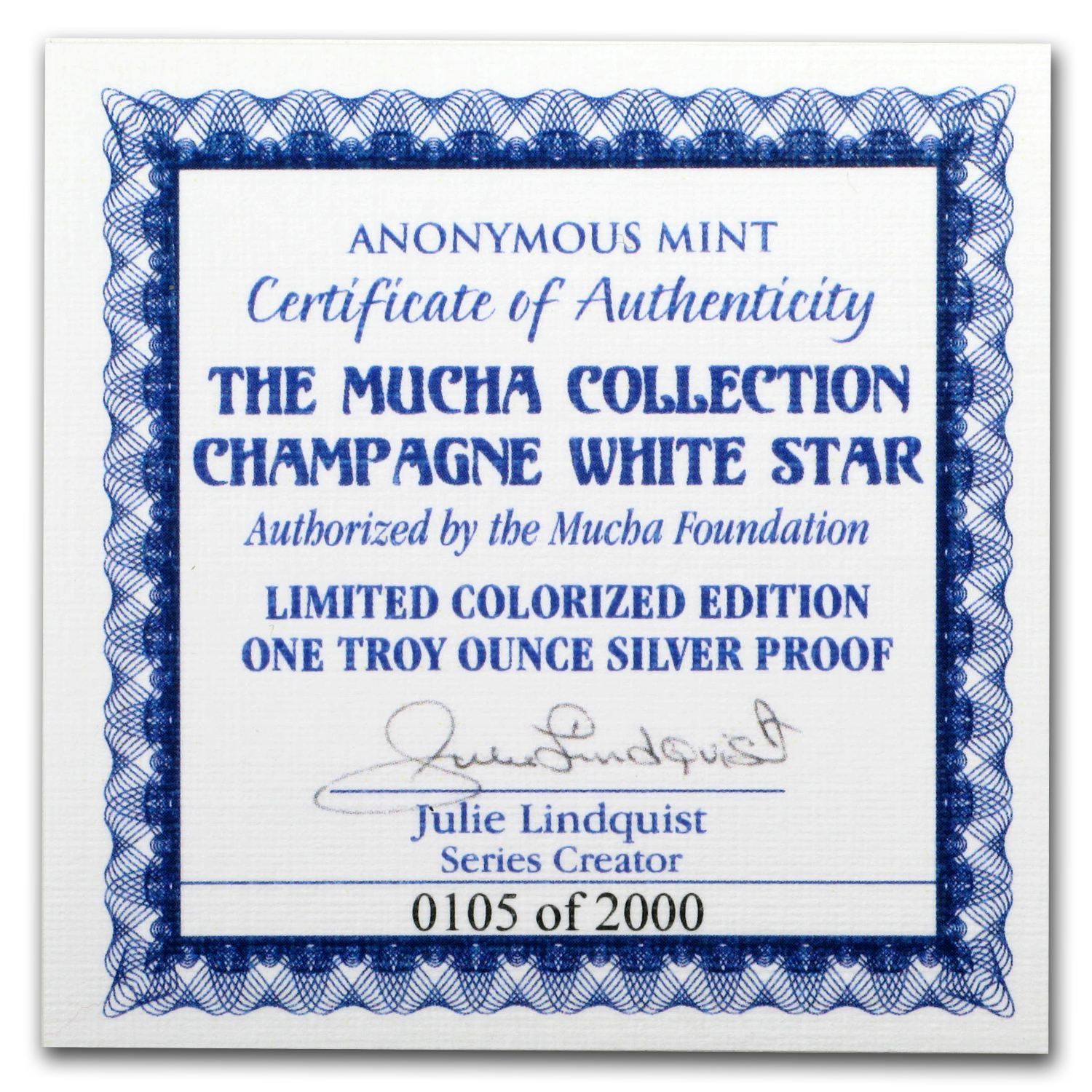 1 oz Silver Colorized Round Mucha Collection Champagne White Star