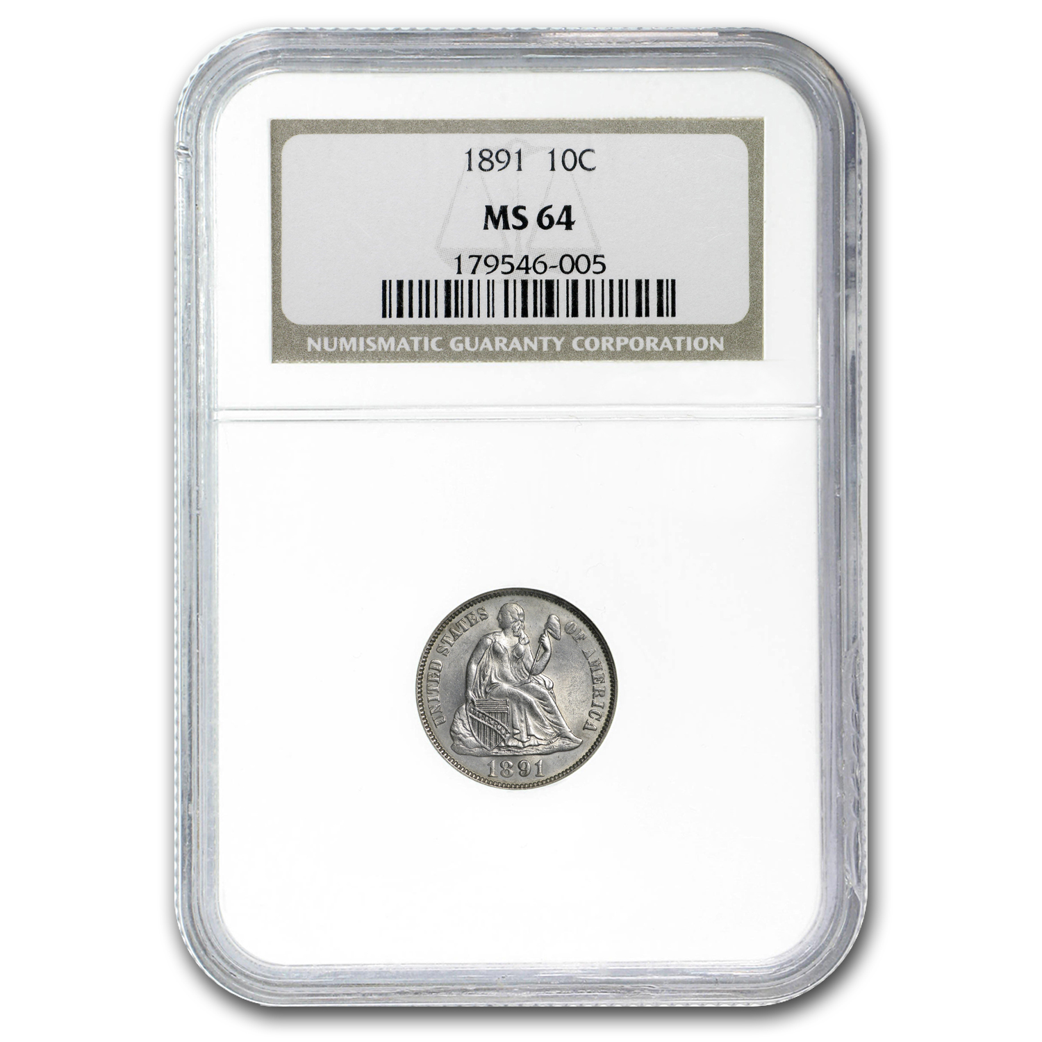 1891 Liberty Seated Dime MS-64 NGC