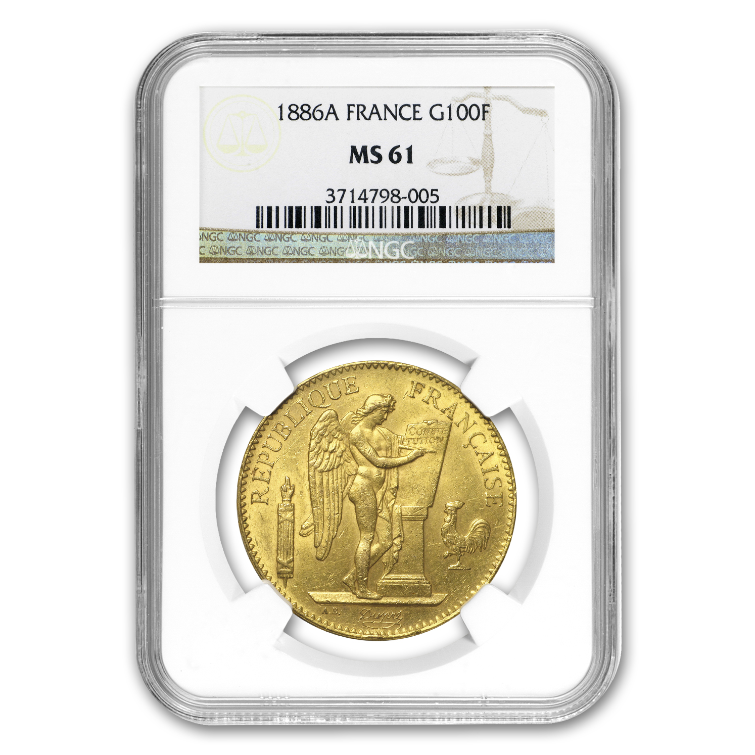 1878-1898 France Gold 100 Francs Lucky Angel MS-61 NGC