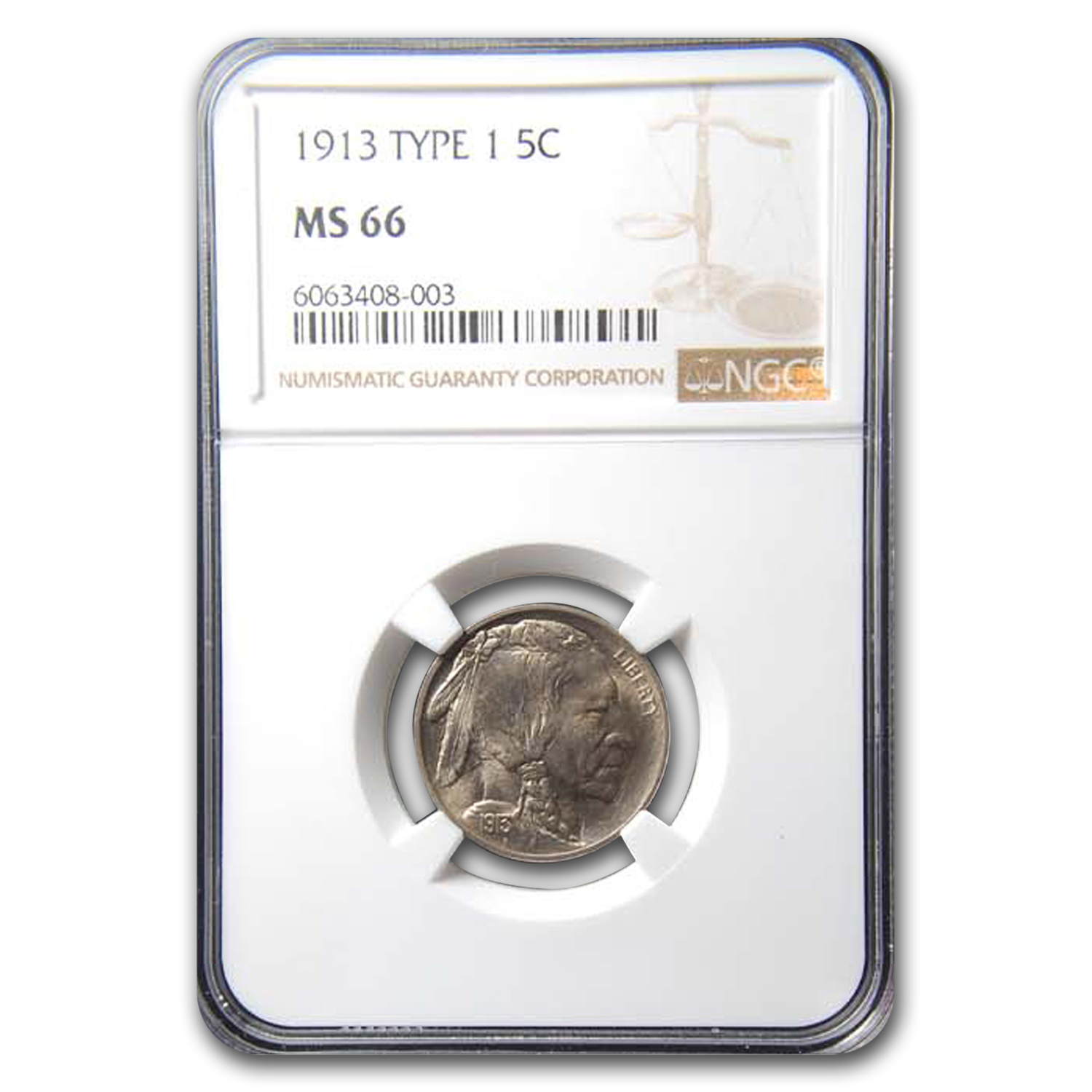 1913 Buffalo Nickel Type-I MS-66 NGC
