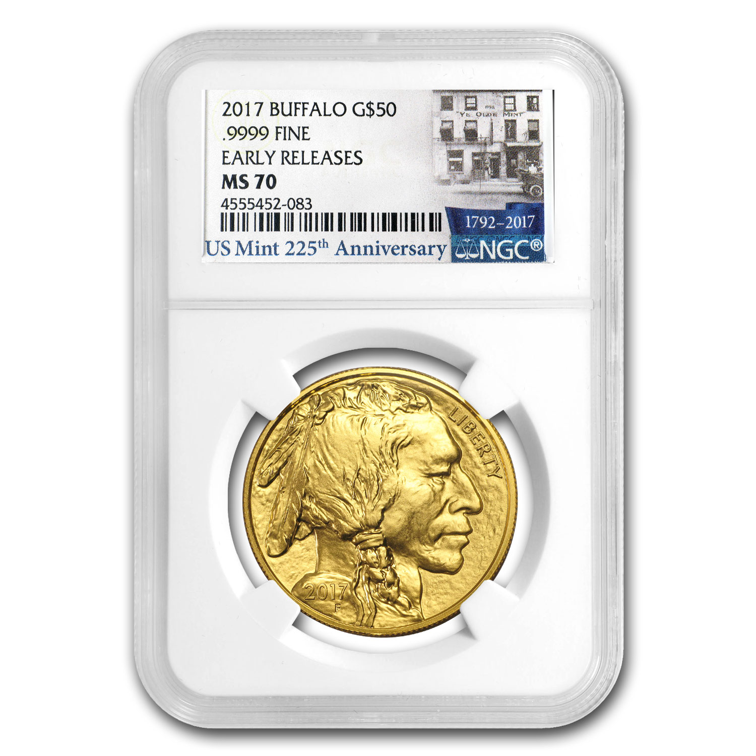 2017 1 oz Gold Buffalo MS-70 NGC (Early Releases, US Mint Label)