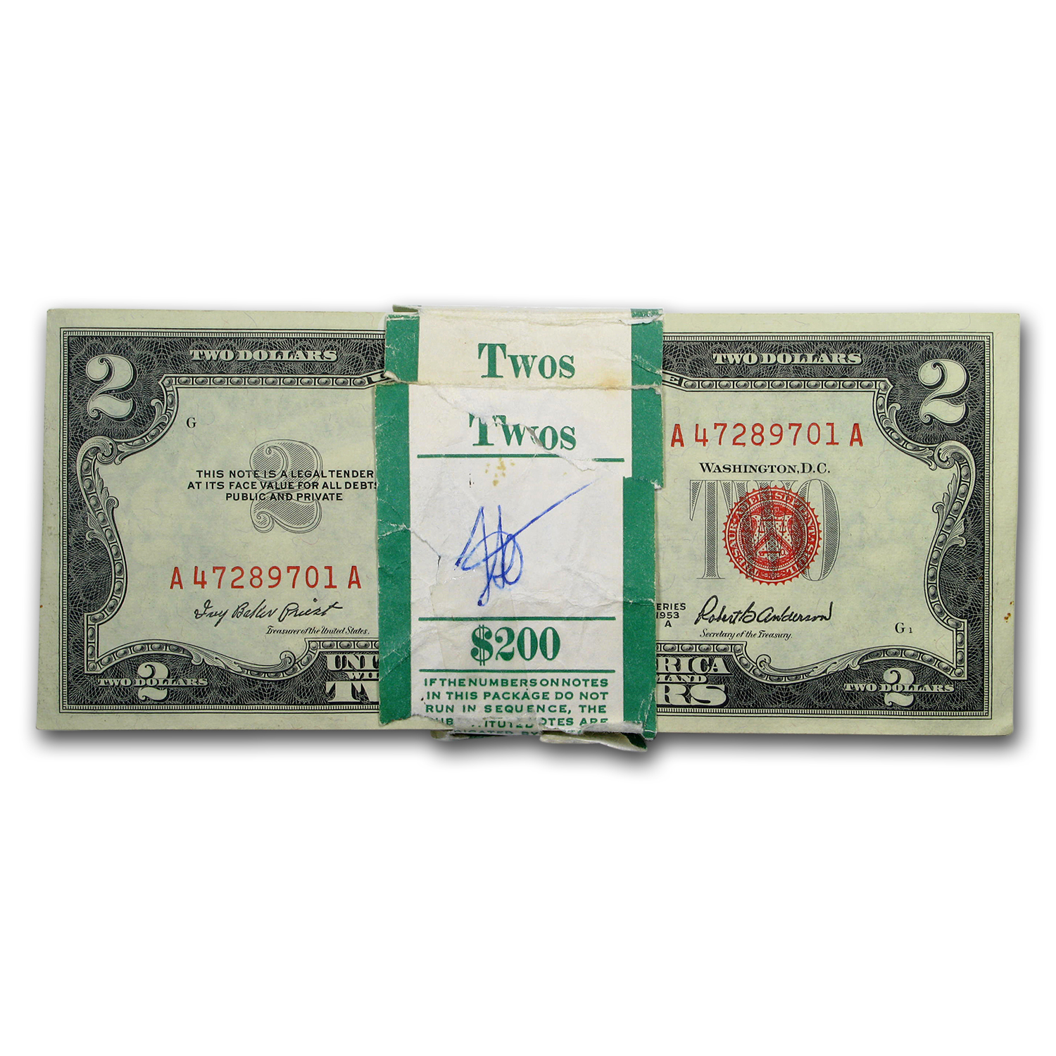 1953-A $2.00 U.S. Notes Red Seal CU (100 consecutive notes)