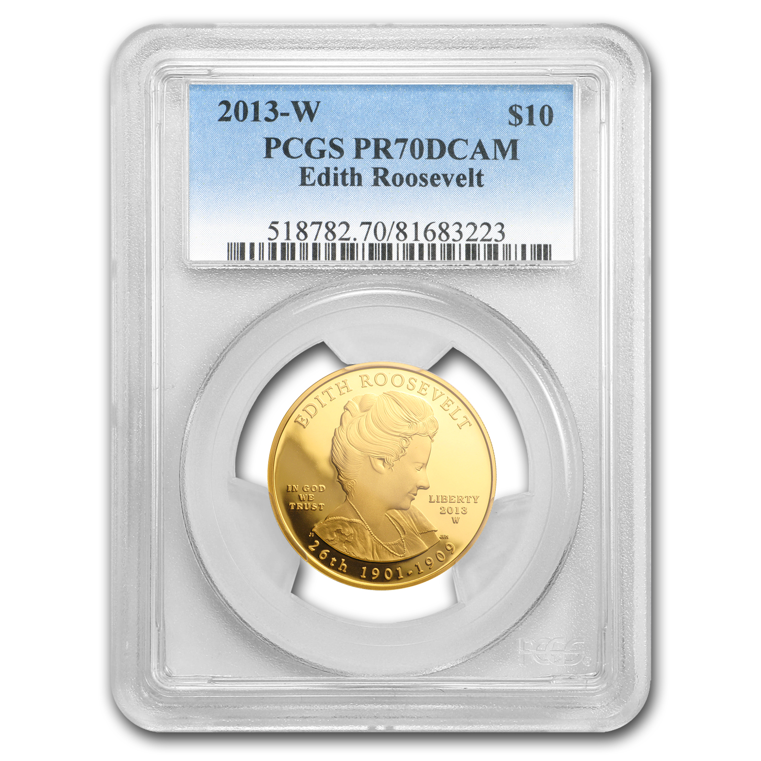 2013-W 1/2 oz Proof Gold Edith Roosevelt PR-70 PCGS