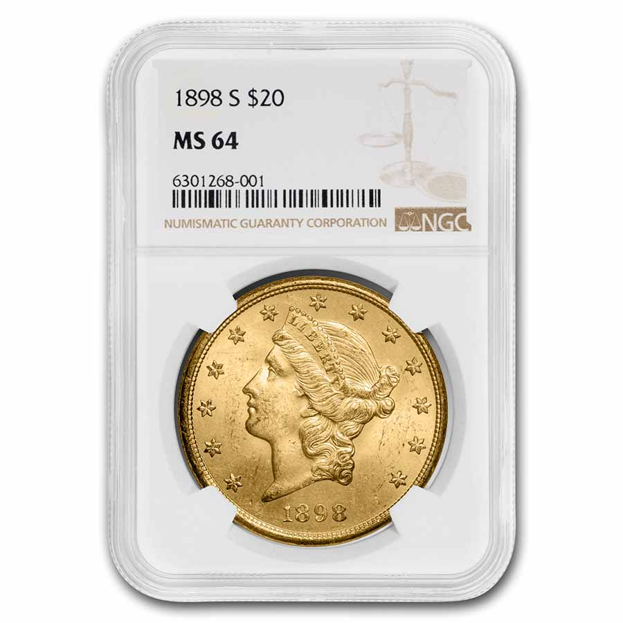 1898-S $20 Liberty Gold Double Eagle MS-64 NGC