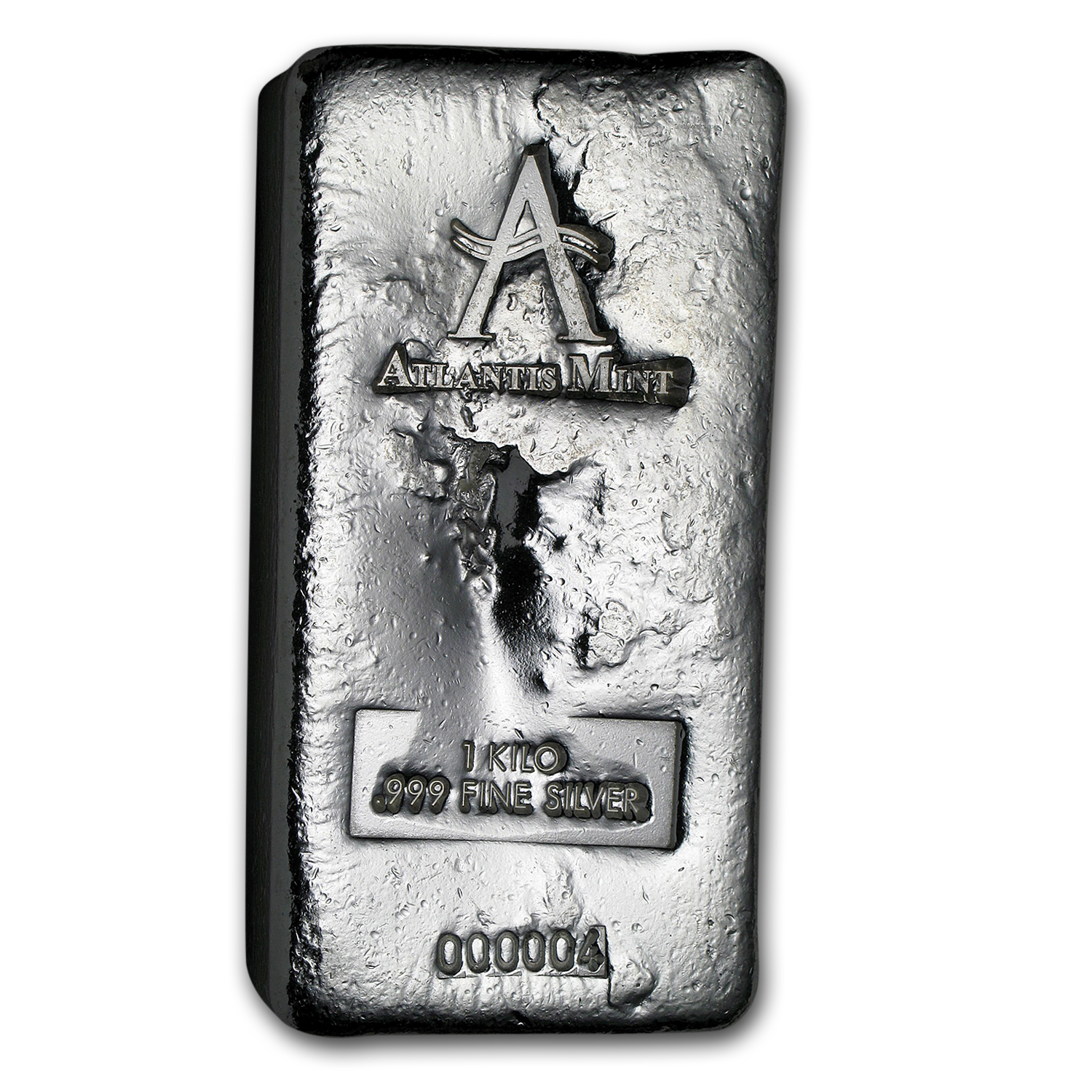 1 kilo Silver Bar - Atlantis Mint (Poured, w/Serial #)