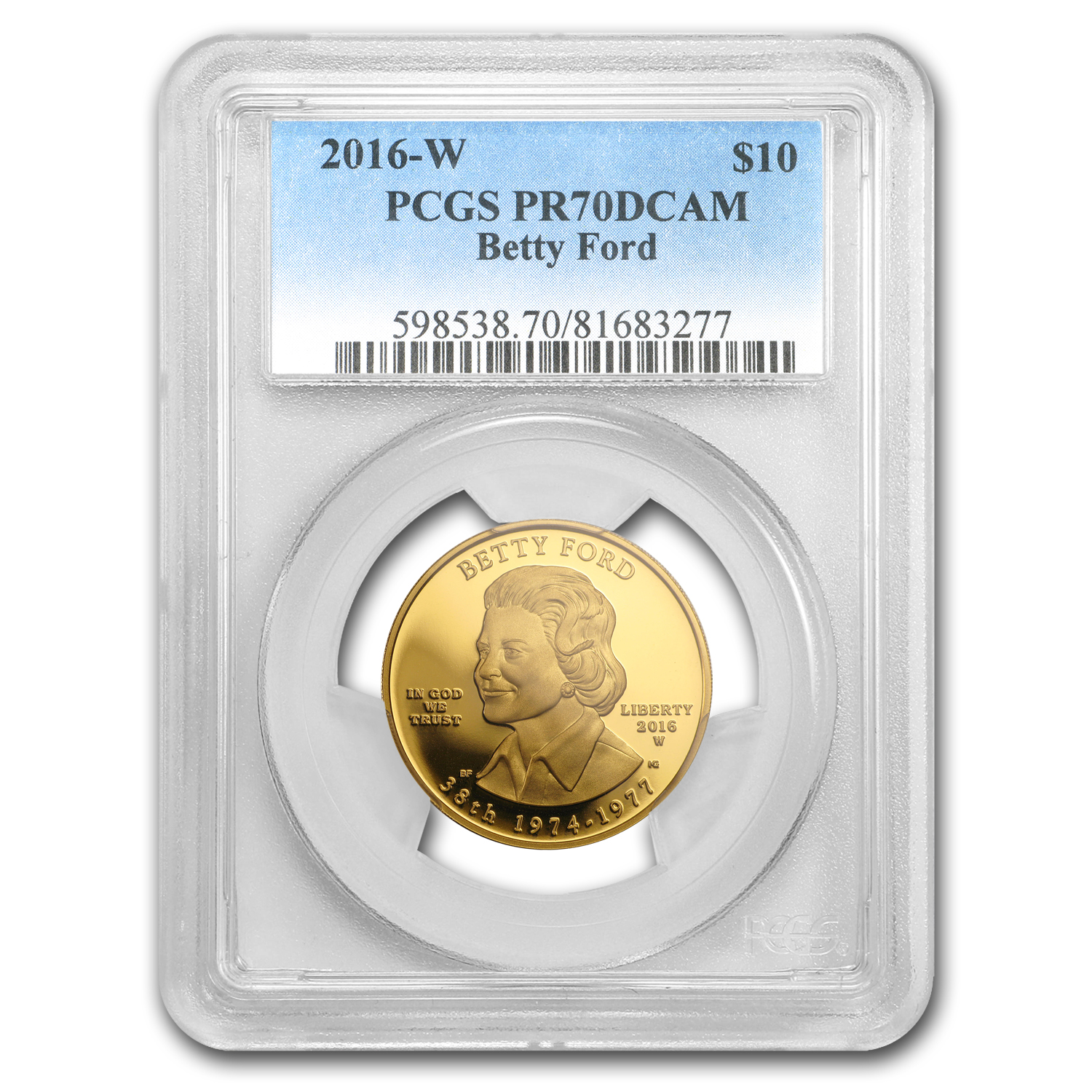 2016-W 1/2 oz Proof Gold Betty Ford PR-70 PCGS