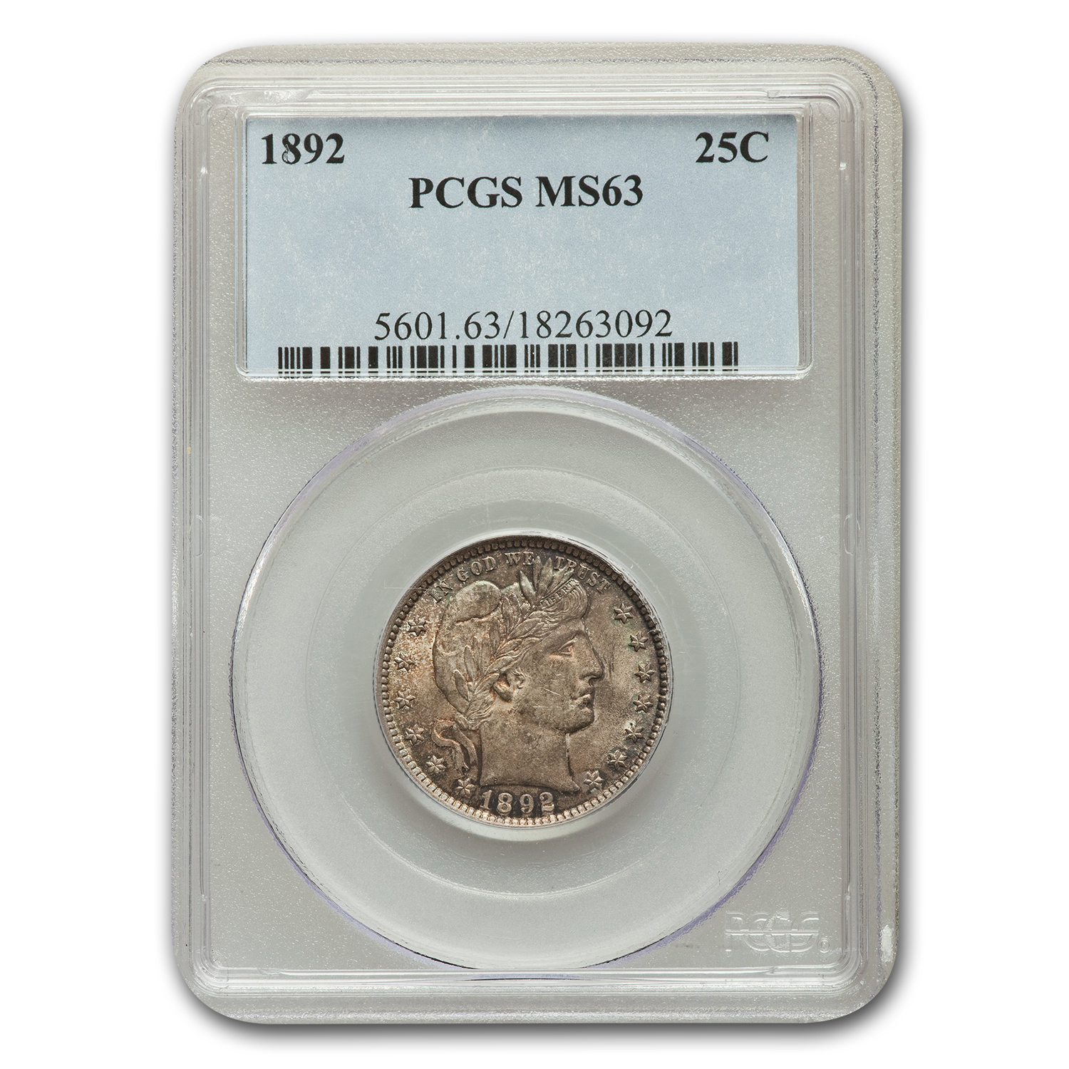1892 Barber Quarter MS-63 PCGS