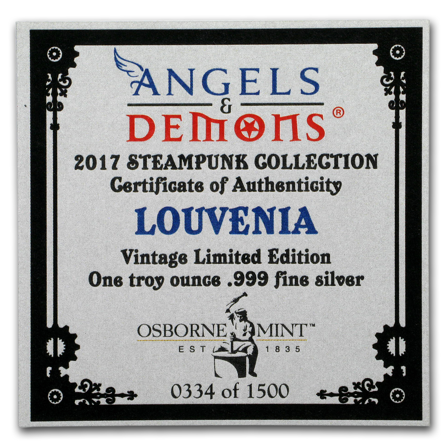 1 oz Silver Antique Round - Angels & Demons Series (Louvenia)