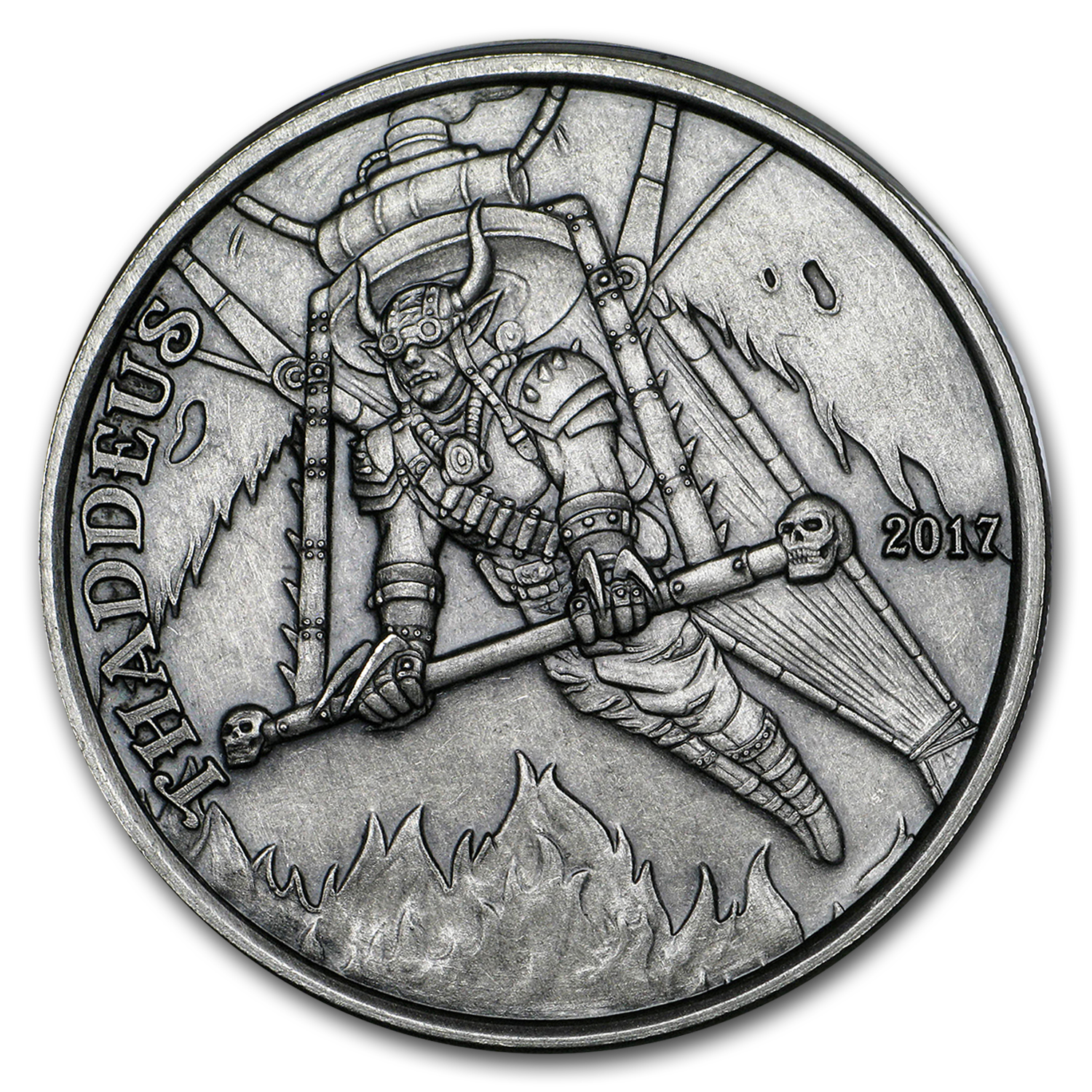 1 oz Silver Antique Round - Angels & Demons Series (Thaddeus)