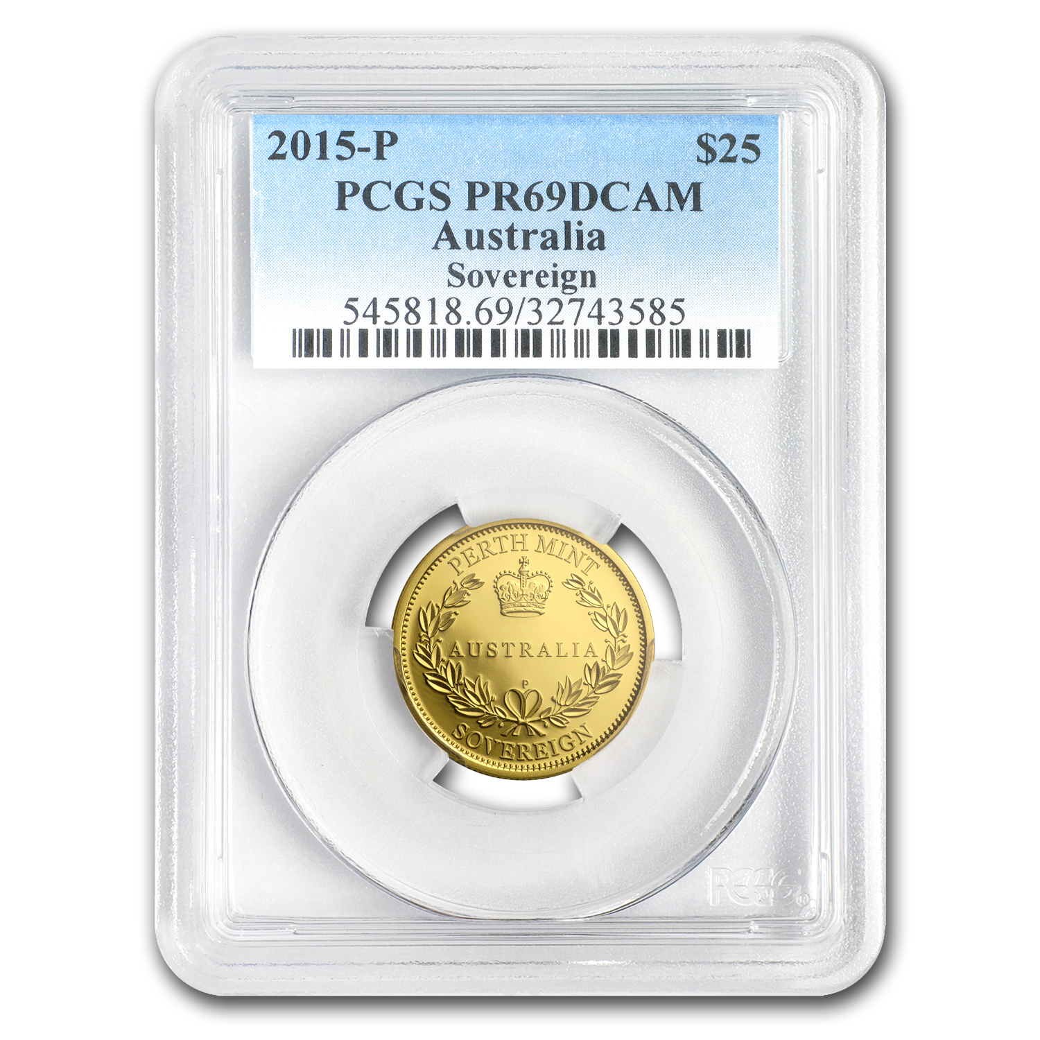 2015-P Australia Proof Gold $25 Sovereign PR-69 PCGS